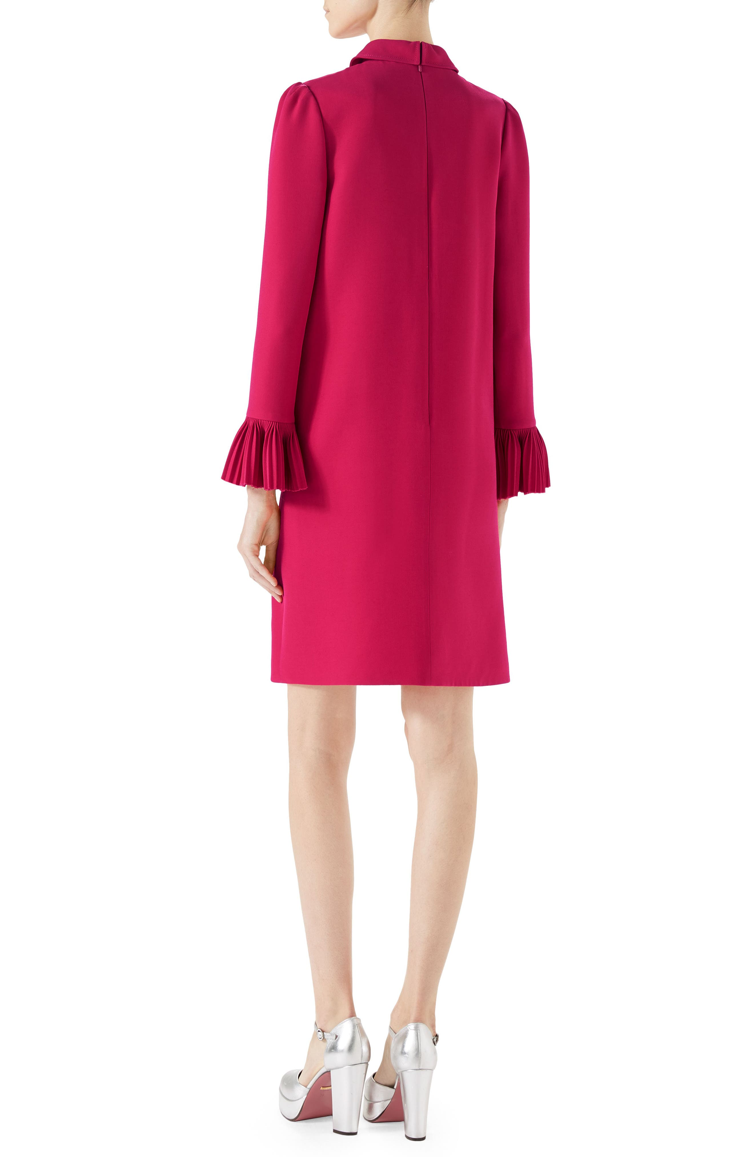 Plissé Ruffle Cady Crepe Dress,                             Alternate thumbnail 2, color,                             RUBINE DEEP PINK