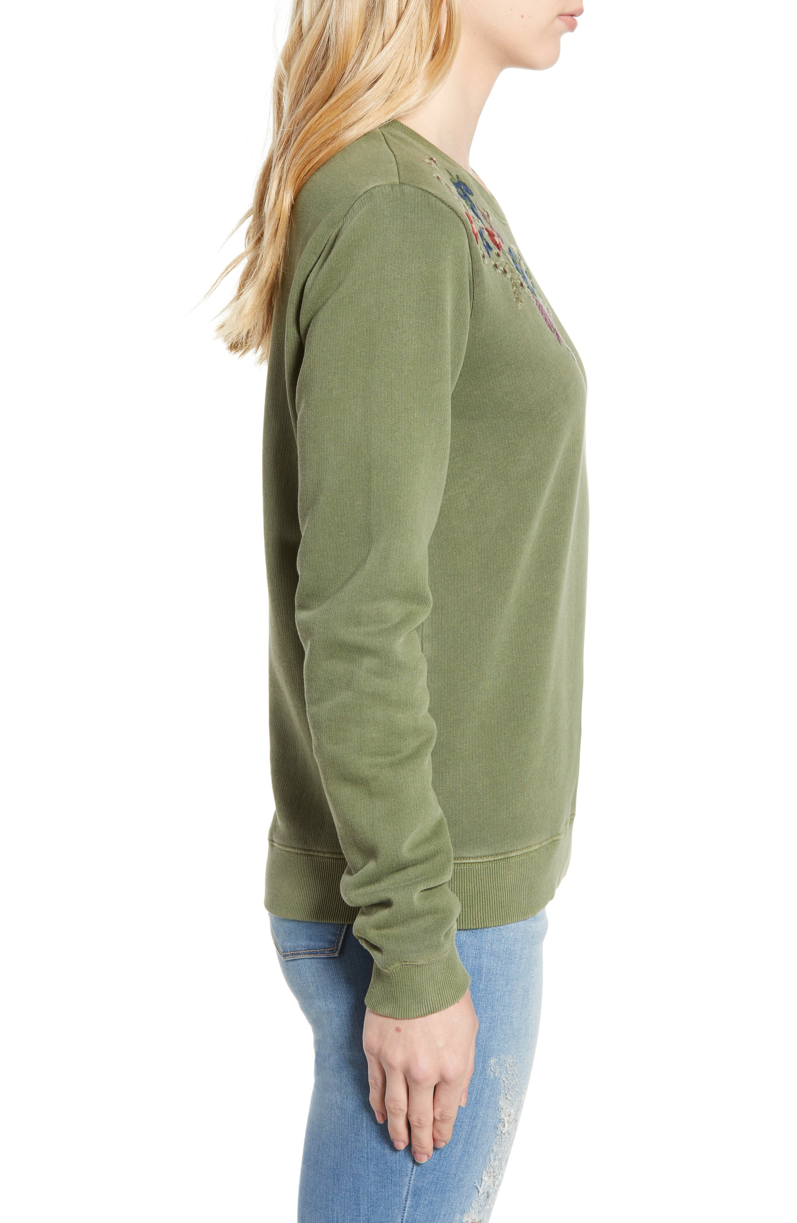 Embroidered Flowers Sweatshirt,                             Alternate thumbnail 3, color,                             OLIVE KNIT