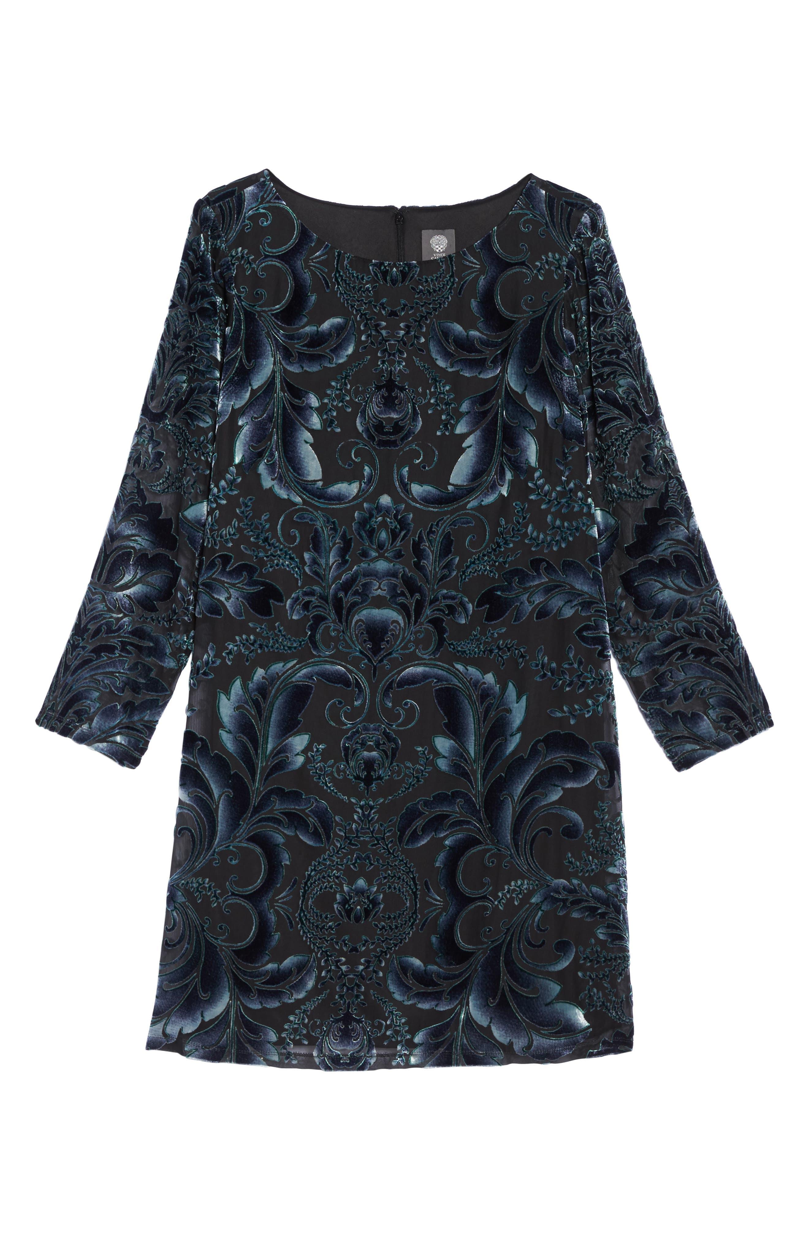 Burnout Velvet Sheath Dress,                             Alternate thumbnail 6, color,                             004