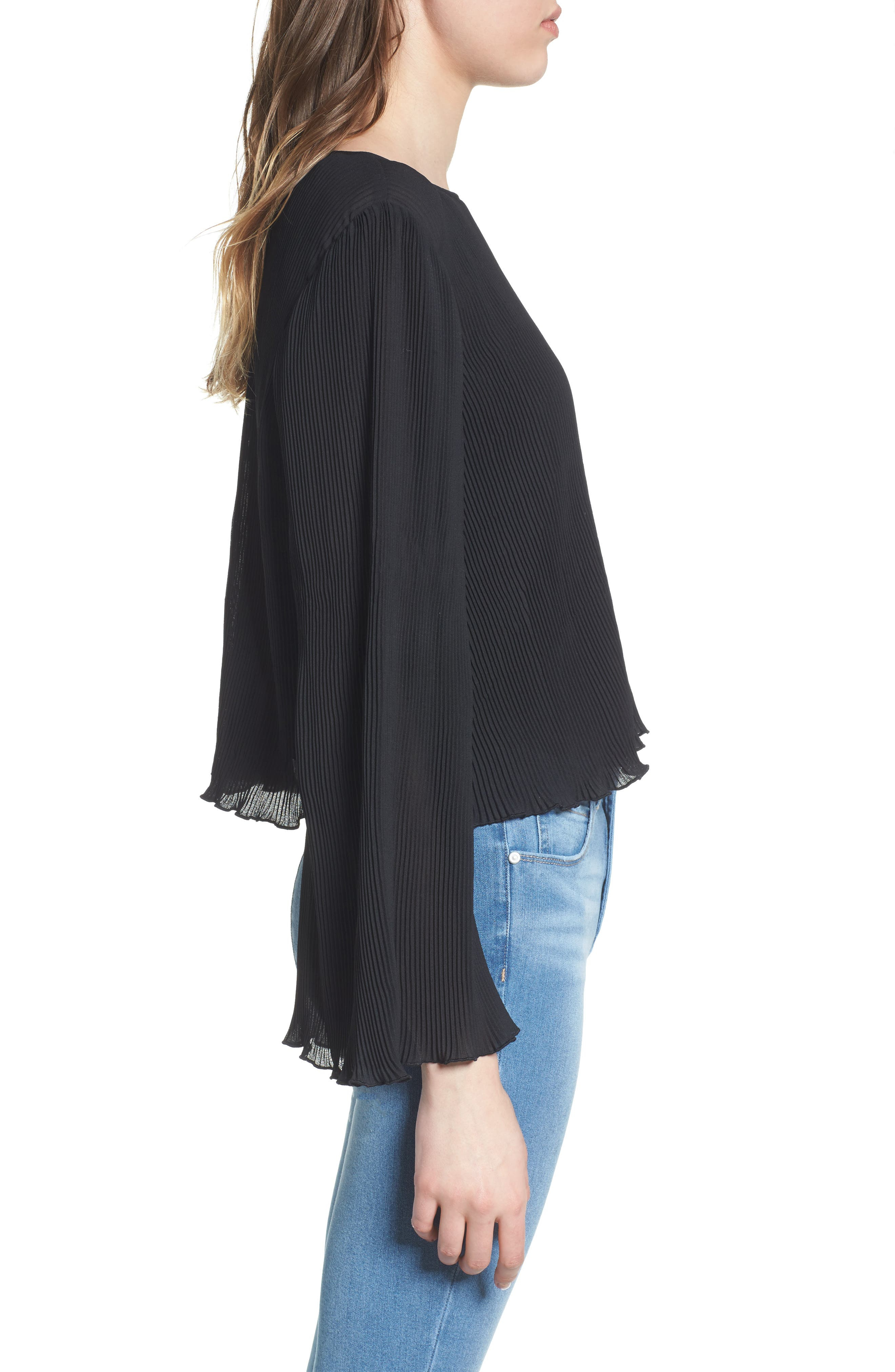 Pleated Bell Sleeve Top,                             Alternate thumbnail 3, color,                             001
