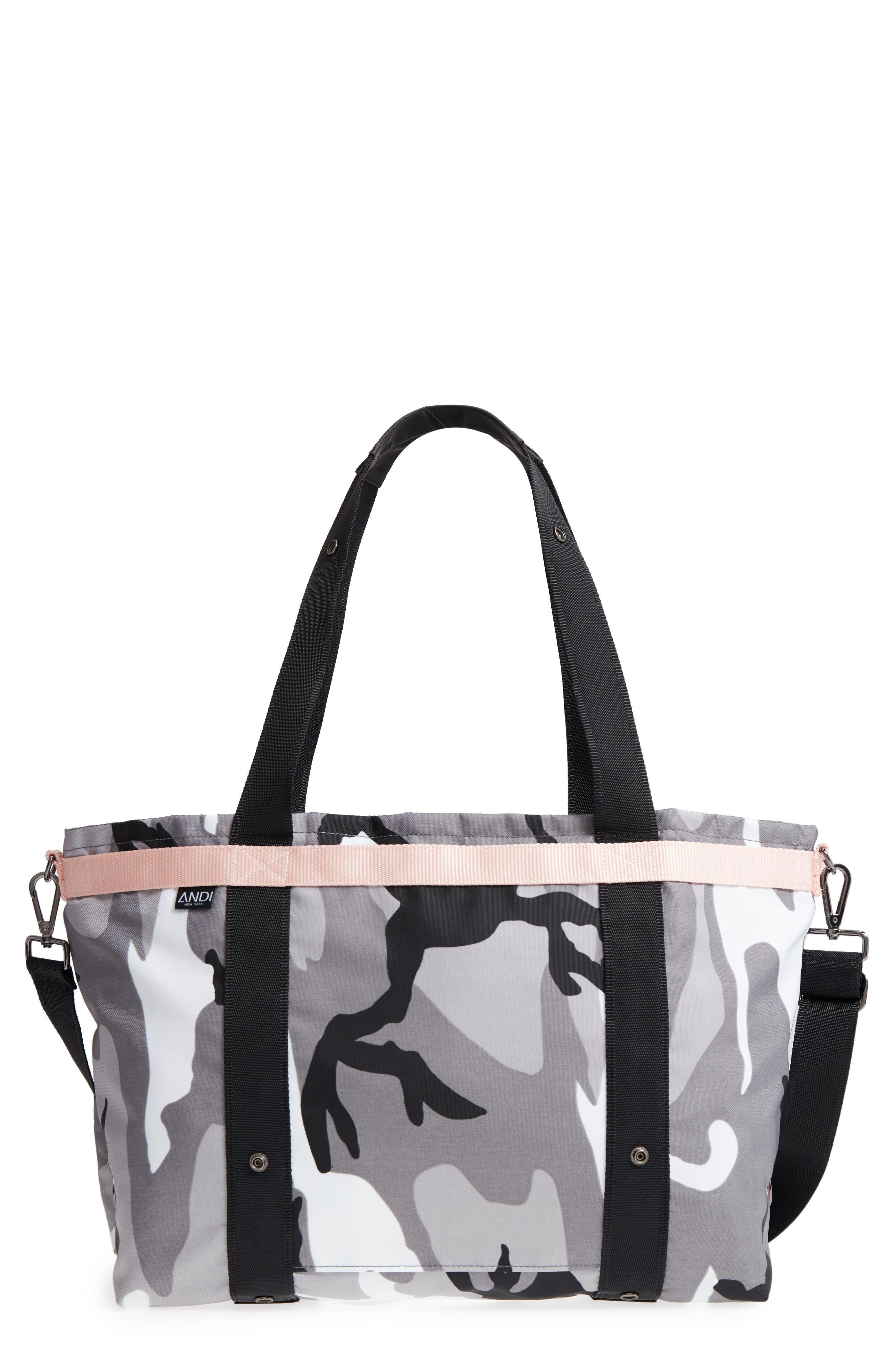 ANDI Camo Convertible Tote - Grey in Black/ White/ Gray/ Pink