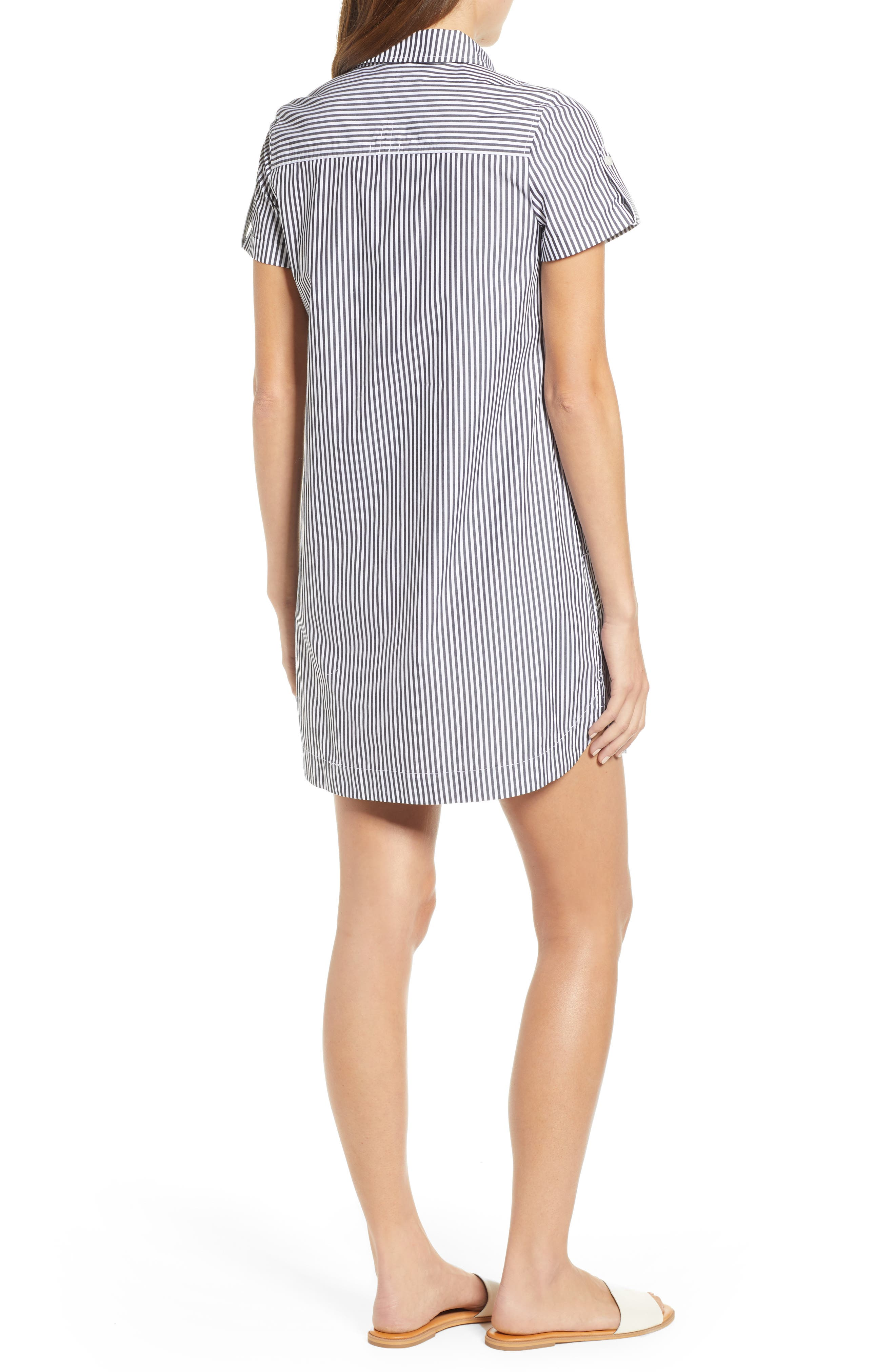 Stripe Utility Shirtdress,                             Alternate thumbnail 2, color,                             JET BLACK