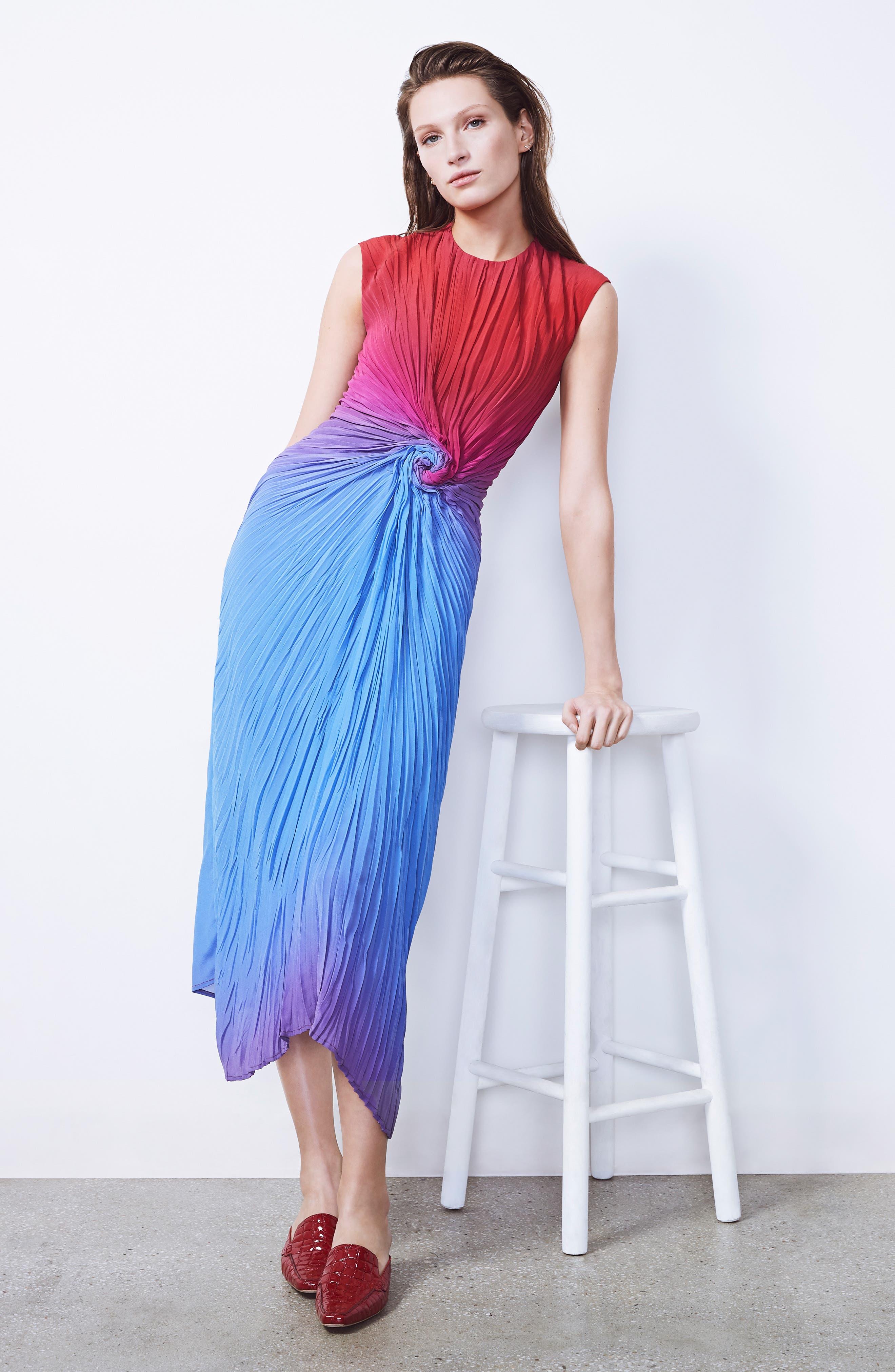 Twist Front Dégradé Silk Dress,                             Alternate thumbnail 7, color,                             DUSTY BLUE/ LIPSTICK