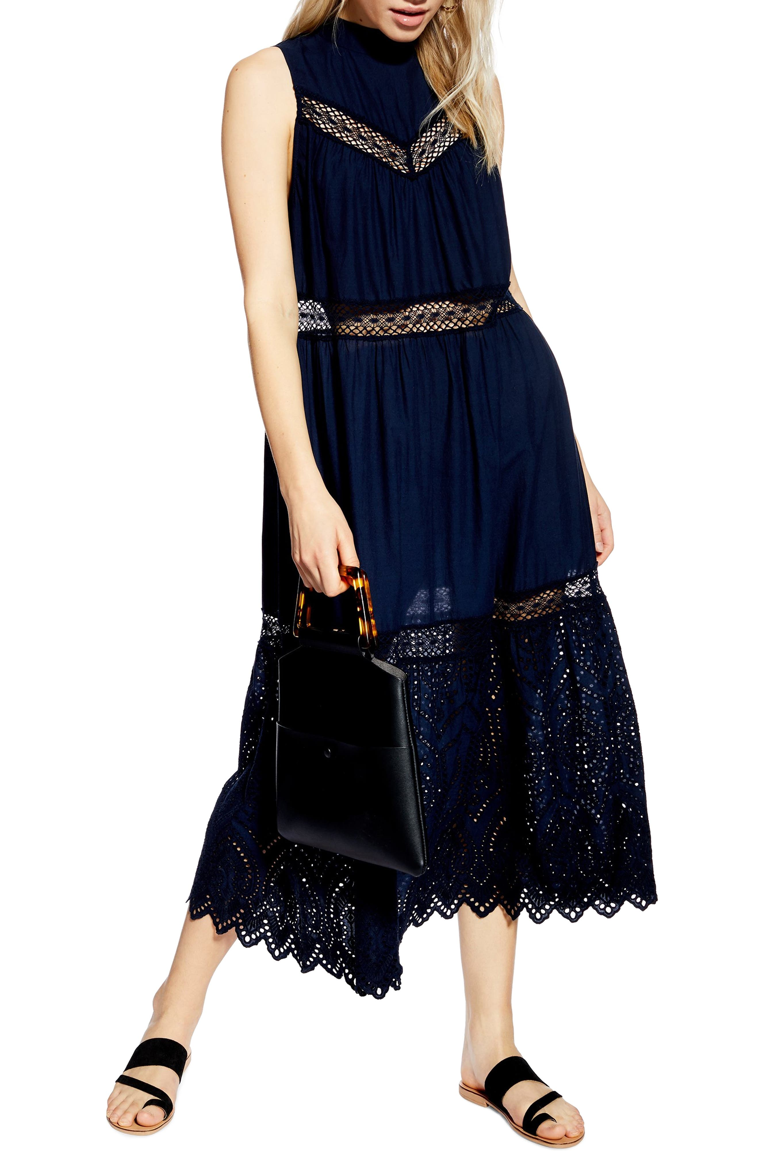 Topshop Broderie Maxi Dress, US (fits like 14) - Blue