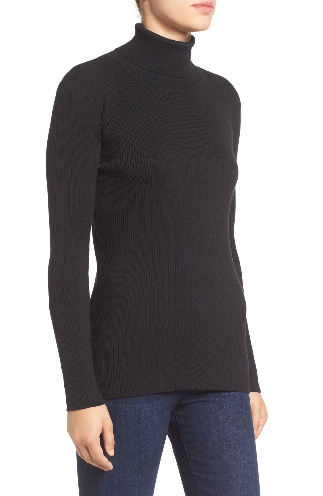 Ribbed Cotton Turtleneck Sweater,                             Alternate thumbnail 3, color,                             006
