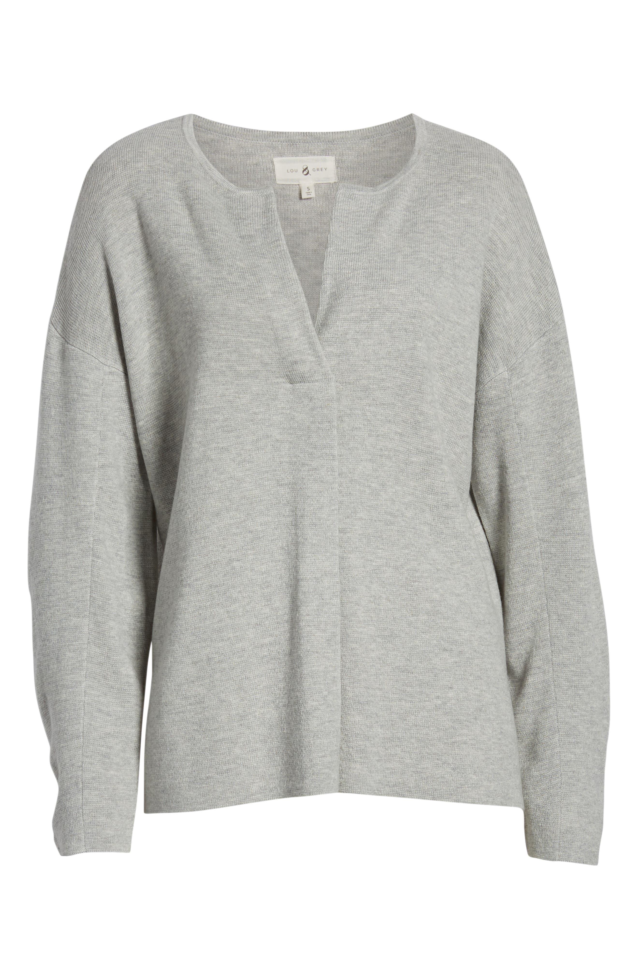 Split Neck Sweater,                             Alternate thumbnail 6, color,                             MED GREY