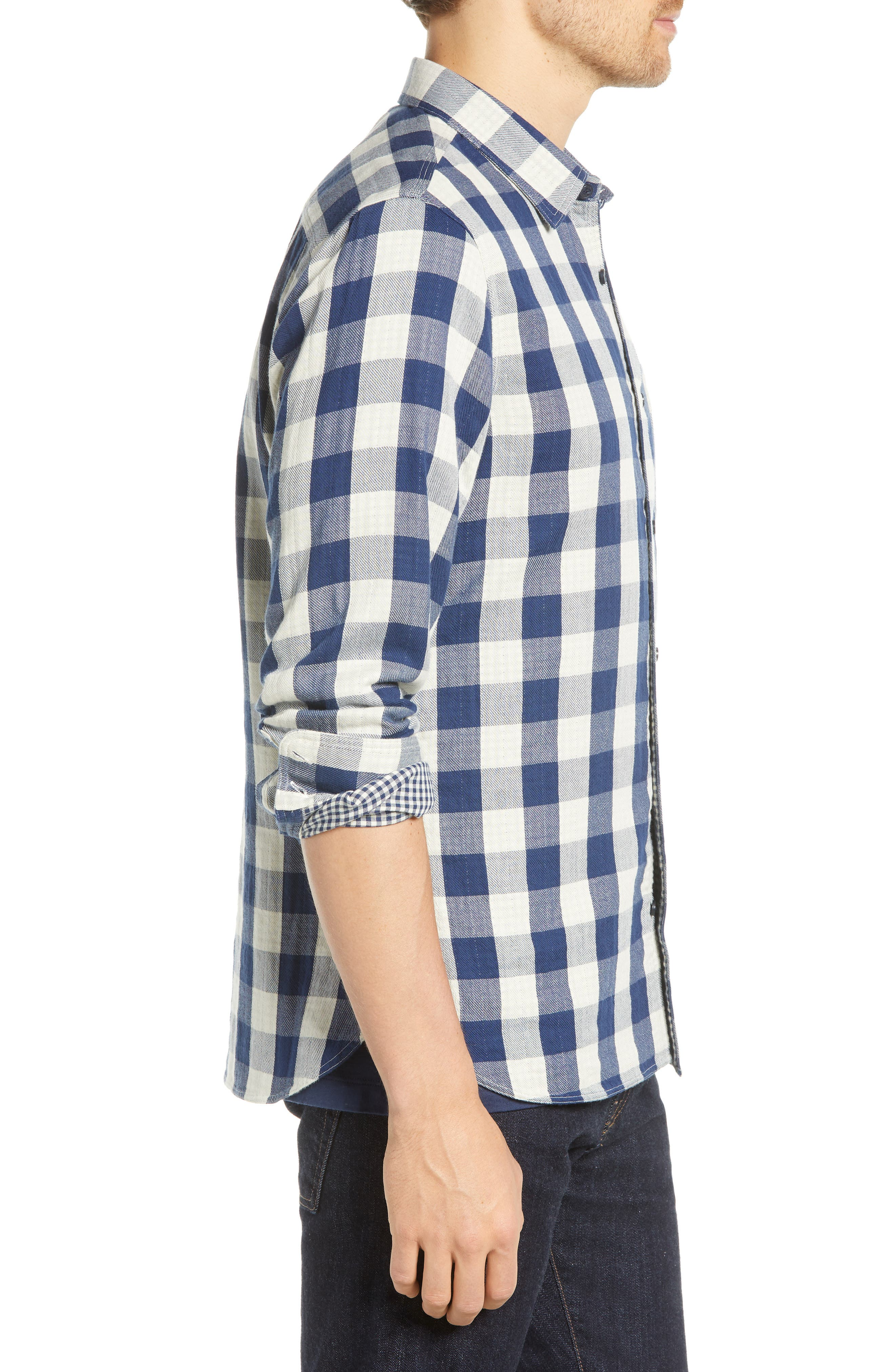 Utility Trim Fit Duofold Sport Shirt,                             Alternate thumbnail 4, color,                             NAVY WHITE BUFFALO GINGHAM