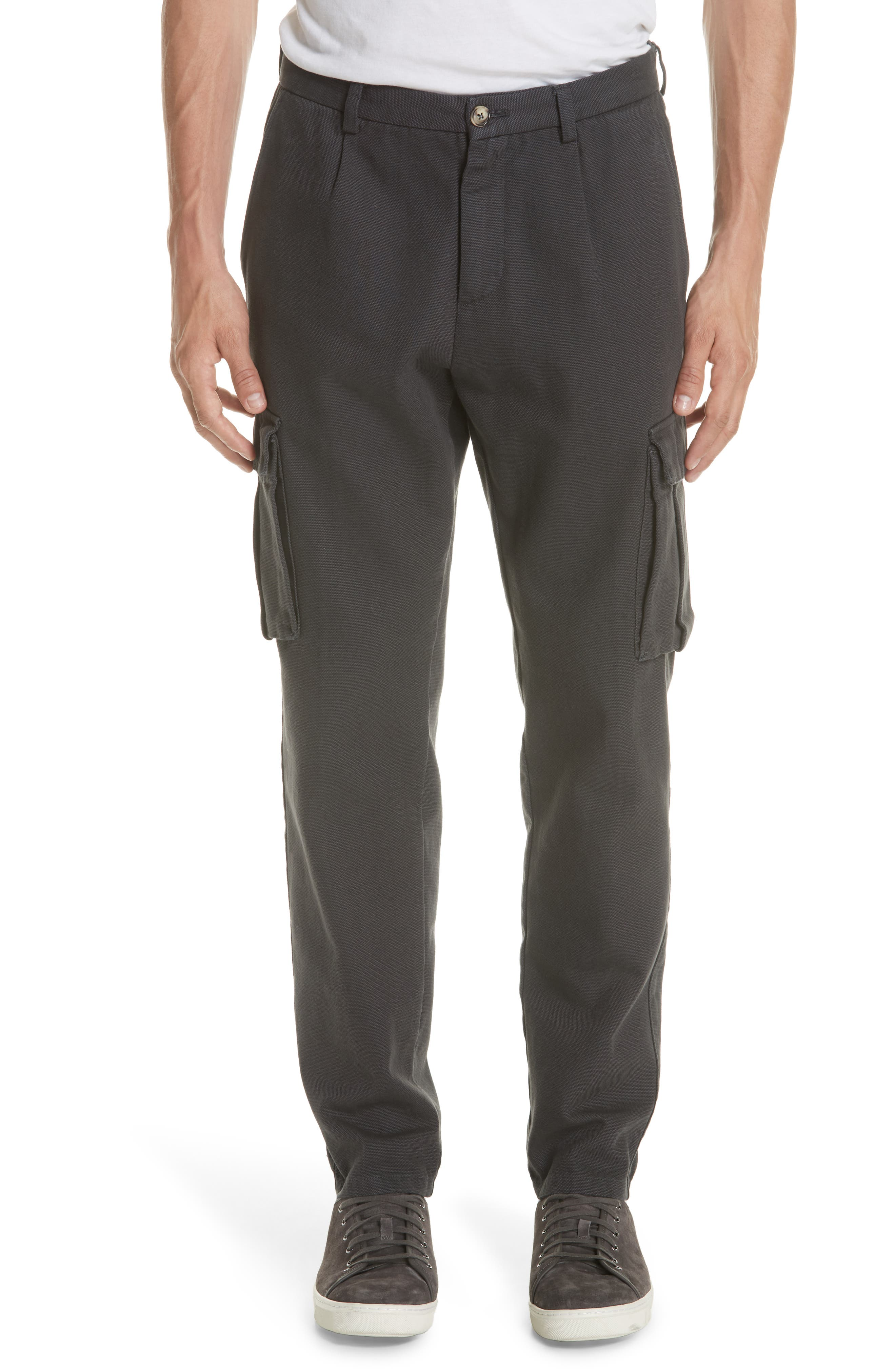 Stretch Canvas Cargo Pants,                         Main,                         color, CHARCOAL