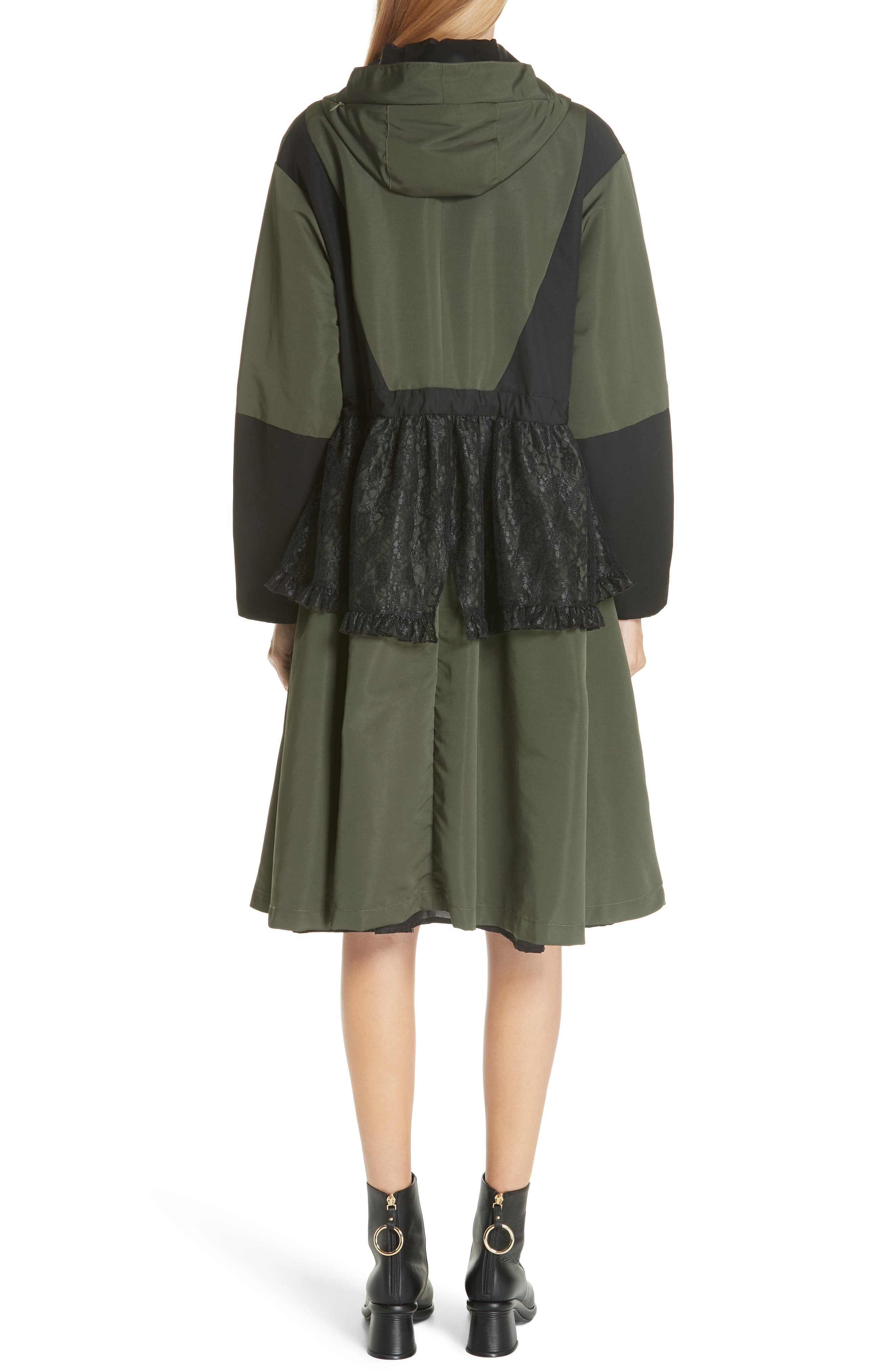 Lace Overlay Hooded Coat,                             Alternate thumbnail 3, color,                             OLIVE BLACK