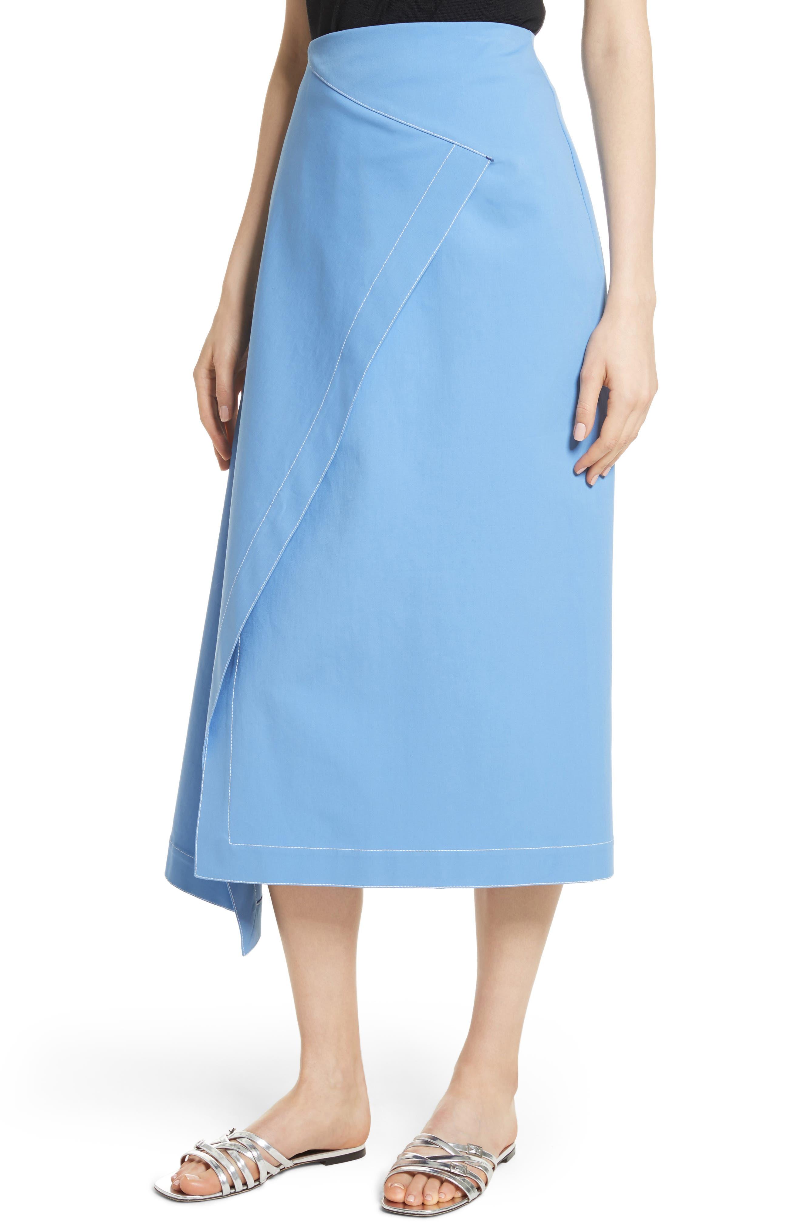 Asymmetrical Stretch Cotton Skirt,                             Alternate thumbnail 4, color,                             450