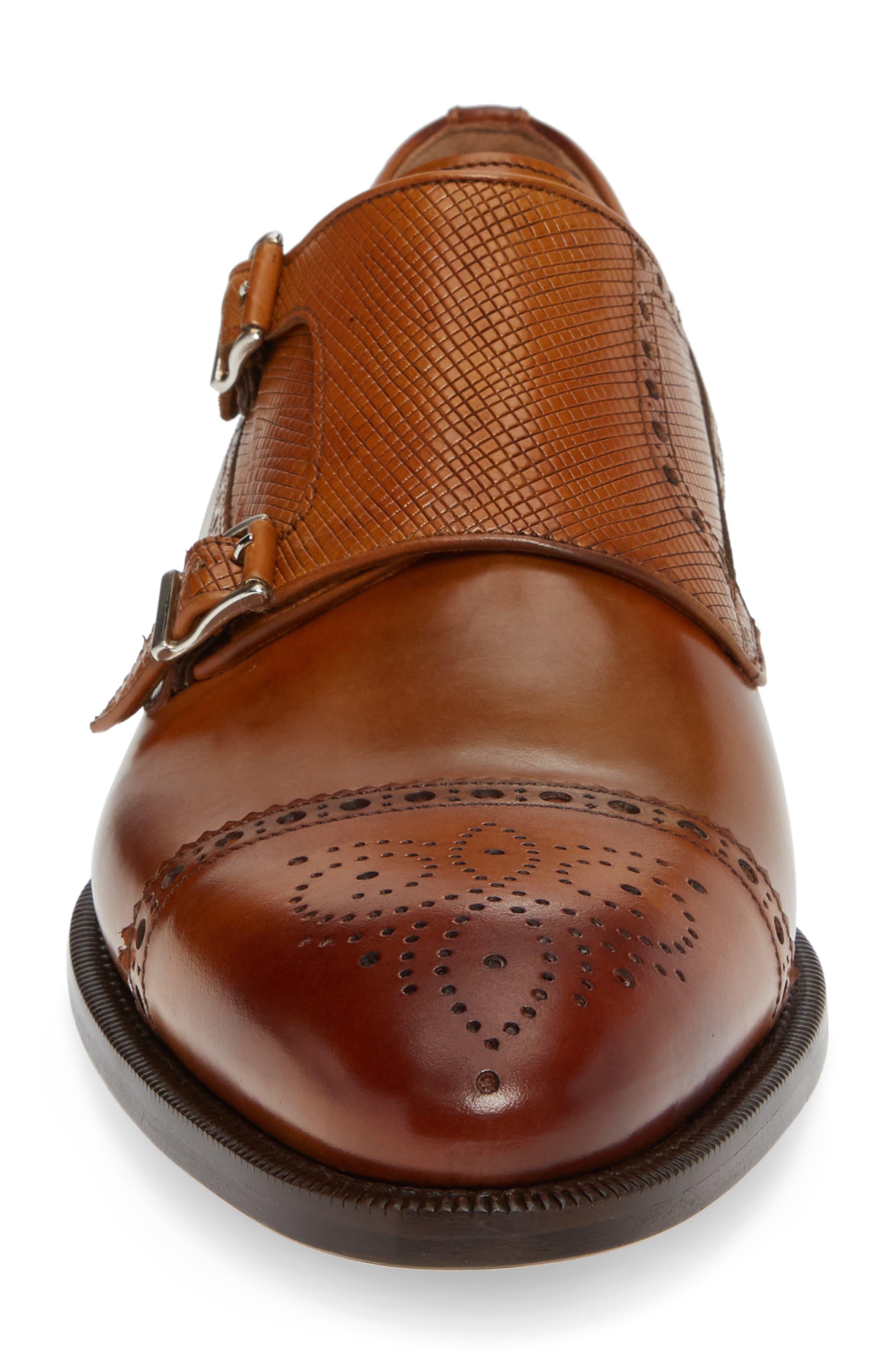 Valda Double Strap Cap Toe Monk Shoe,                             Alternate thumbnail 4, color,                             BROWN LEATHER