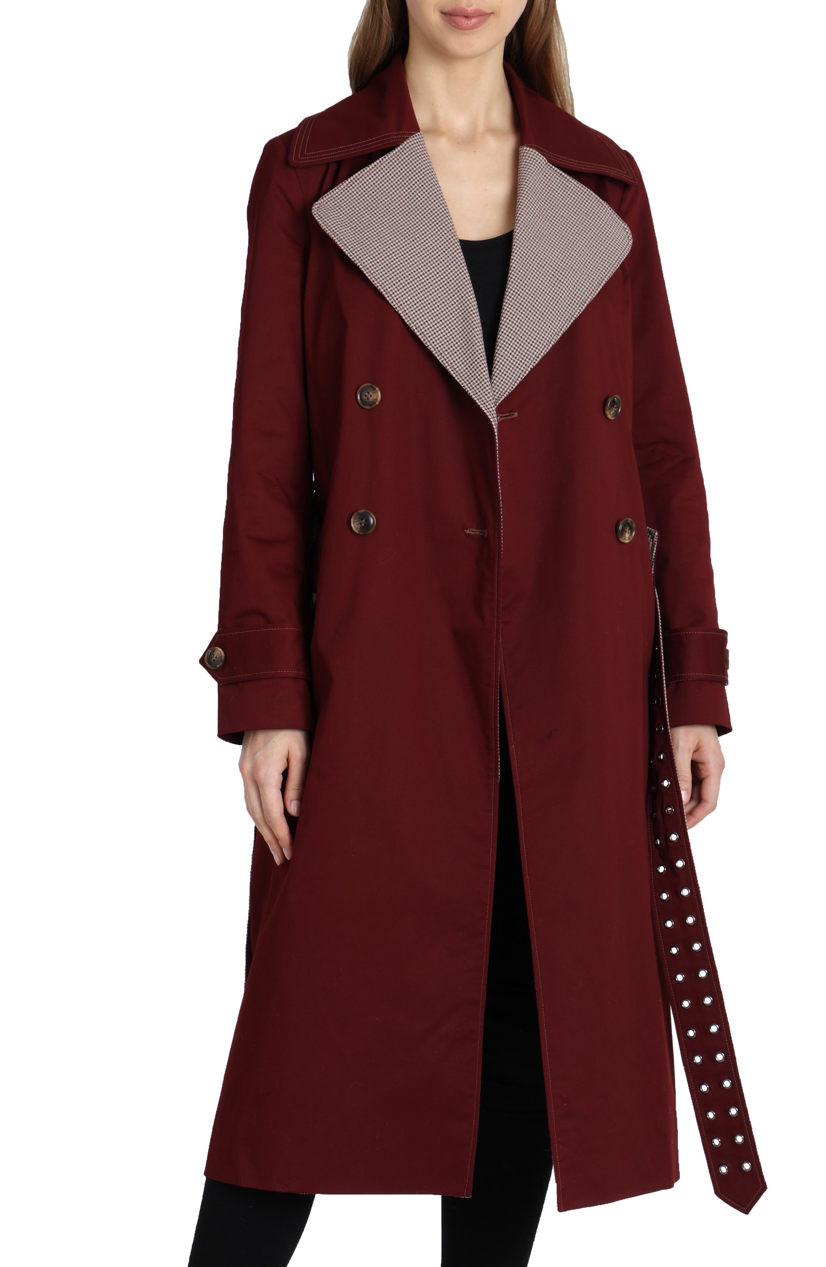 Plaid Lapels Trench Coat,                         Main,                         color, BURGUNDY