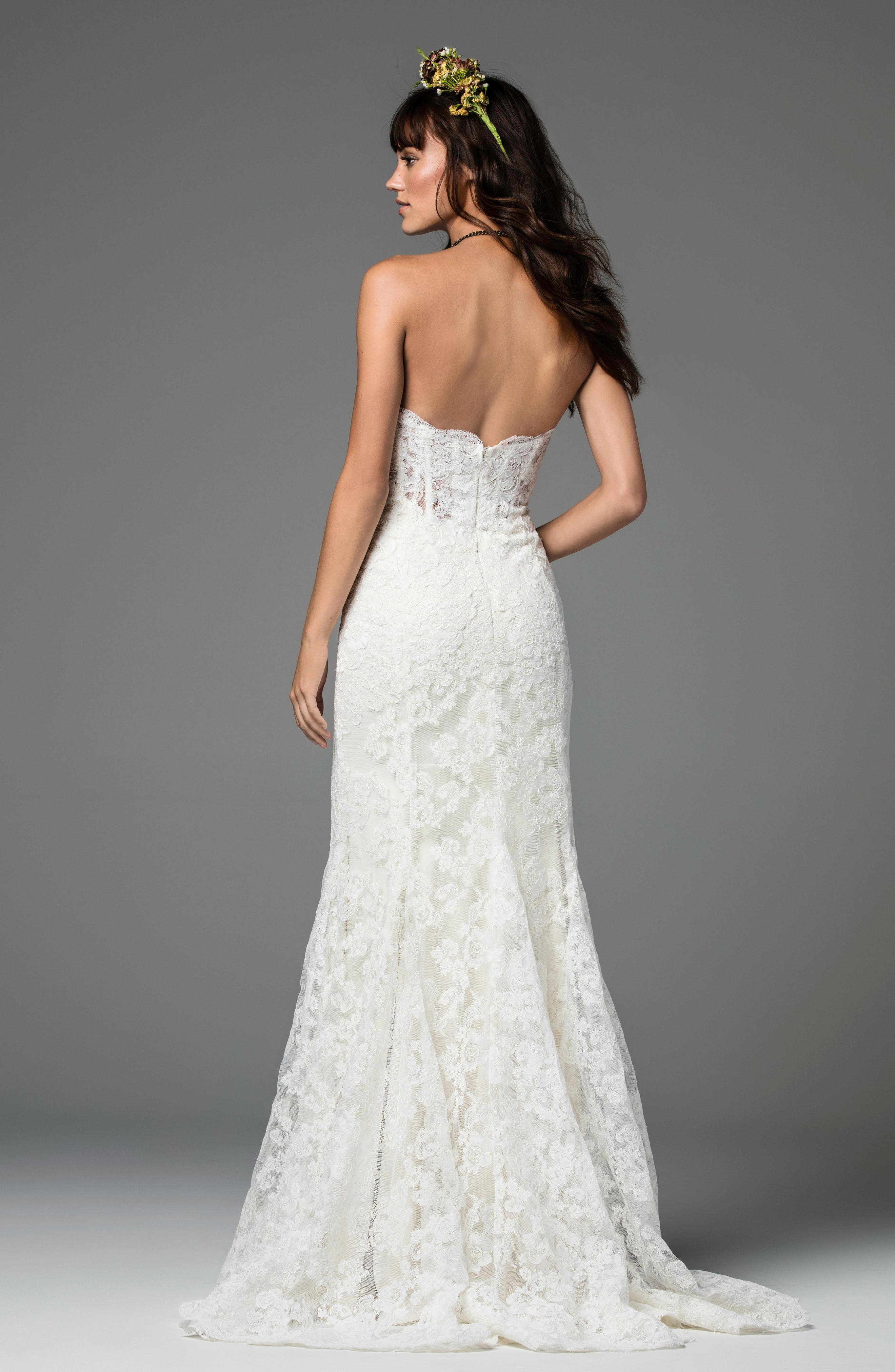 Liesel Strapless Lace Mermaid Gown,                             Alternate thumbnail 2, color,                             IVORY