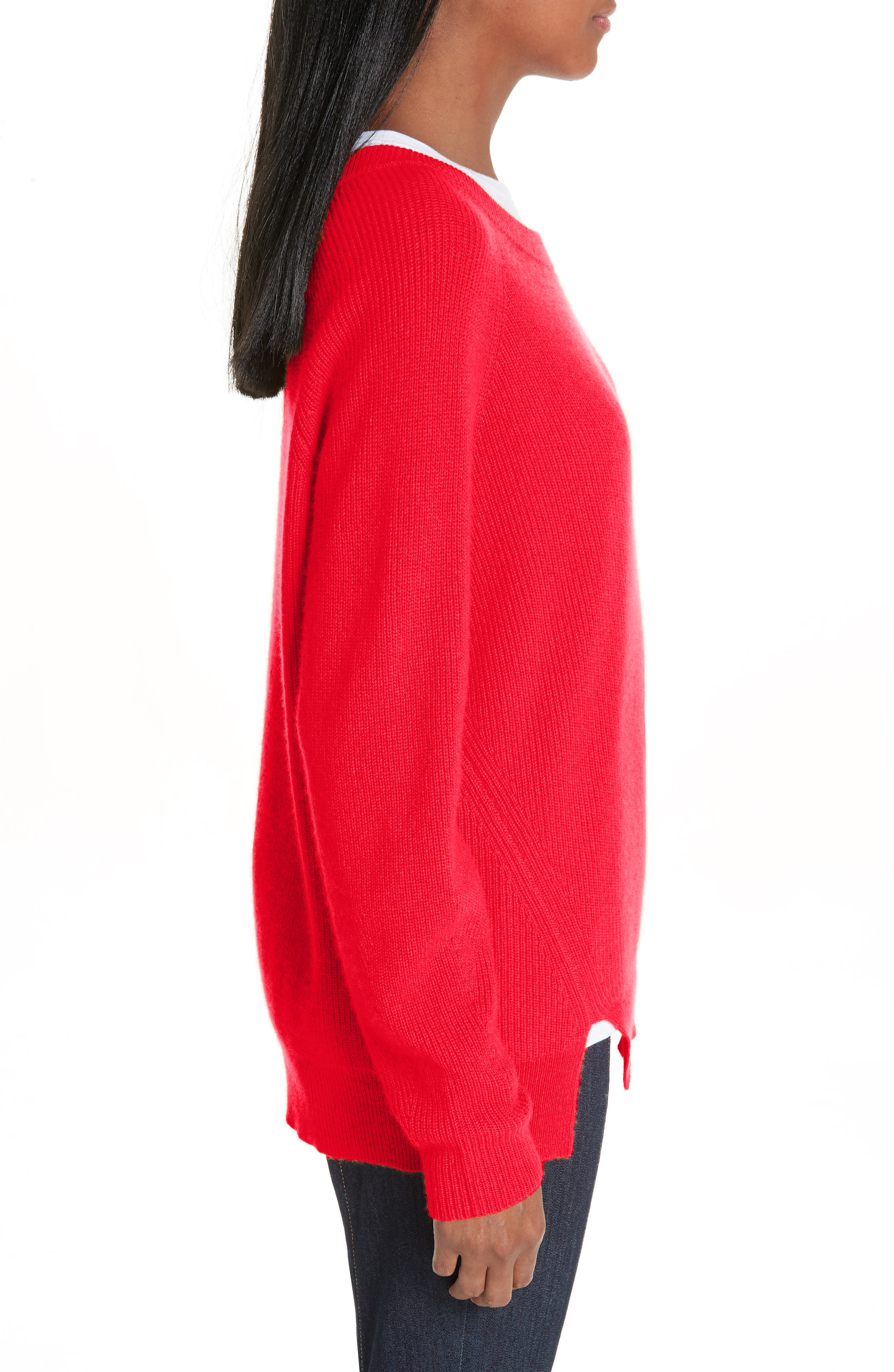 Lillie Layered Cashmere Sweater,                             Alternate thumbnail 3, color,                             POPPY PINK