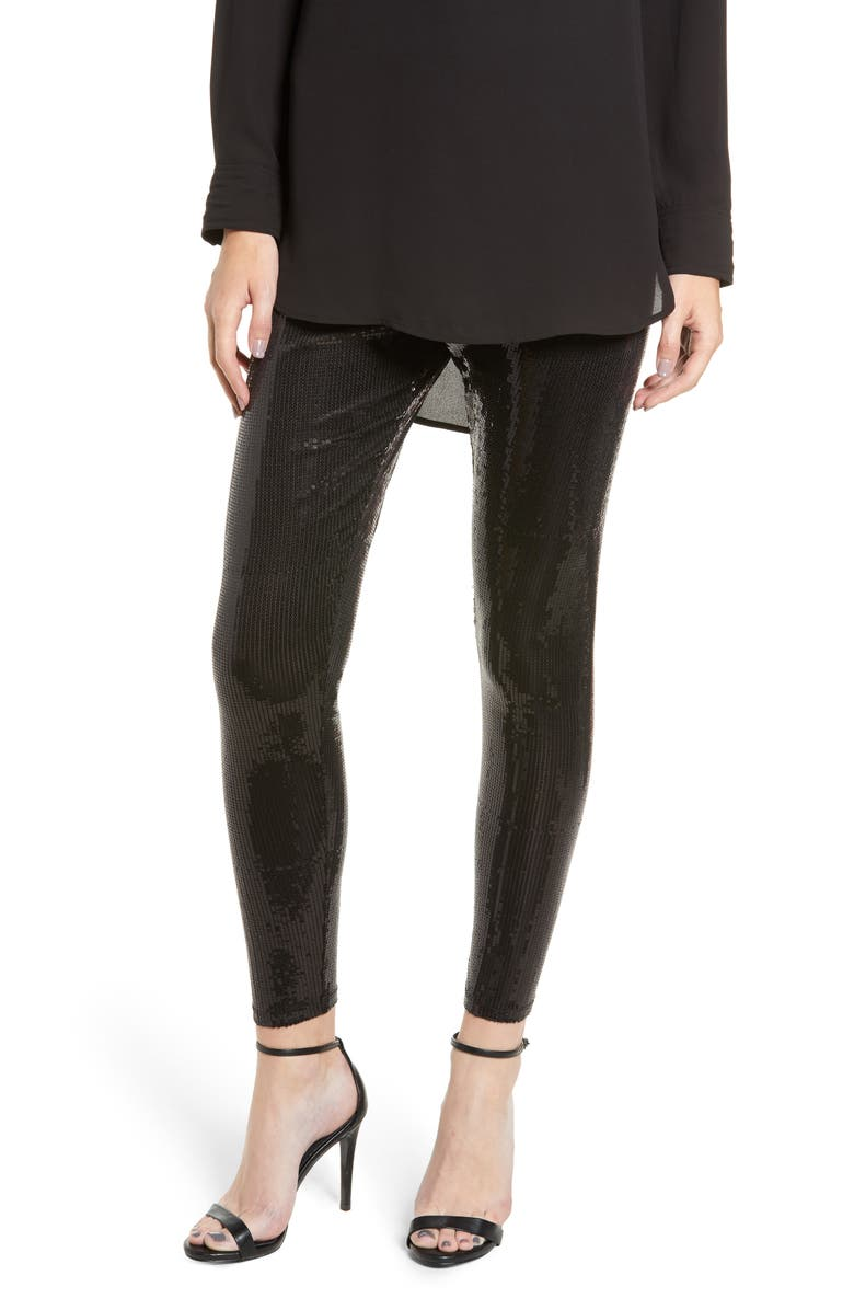 Sequin Leggings,                         Main,                         color, BLACK