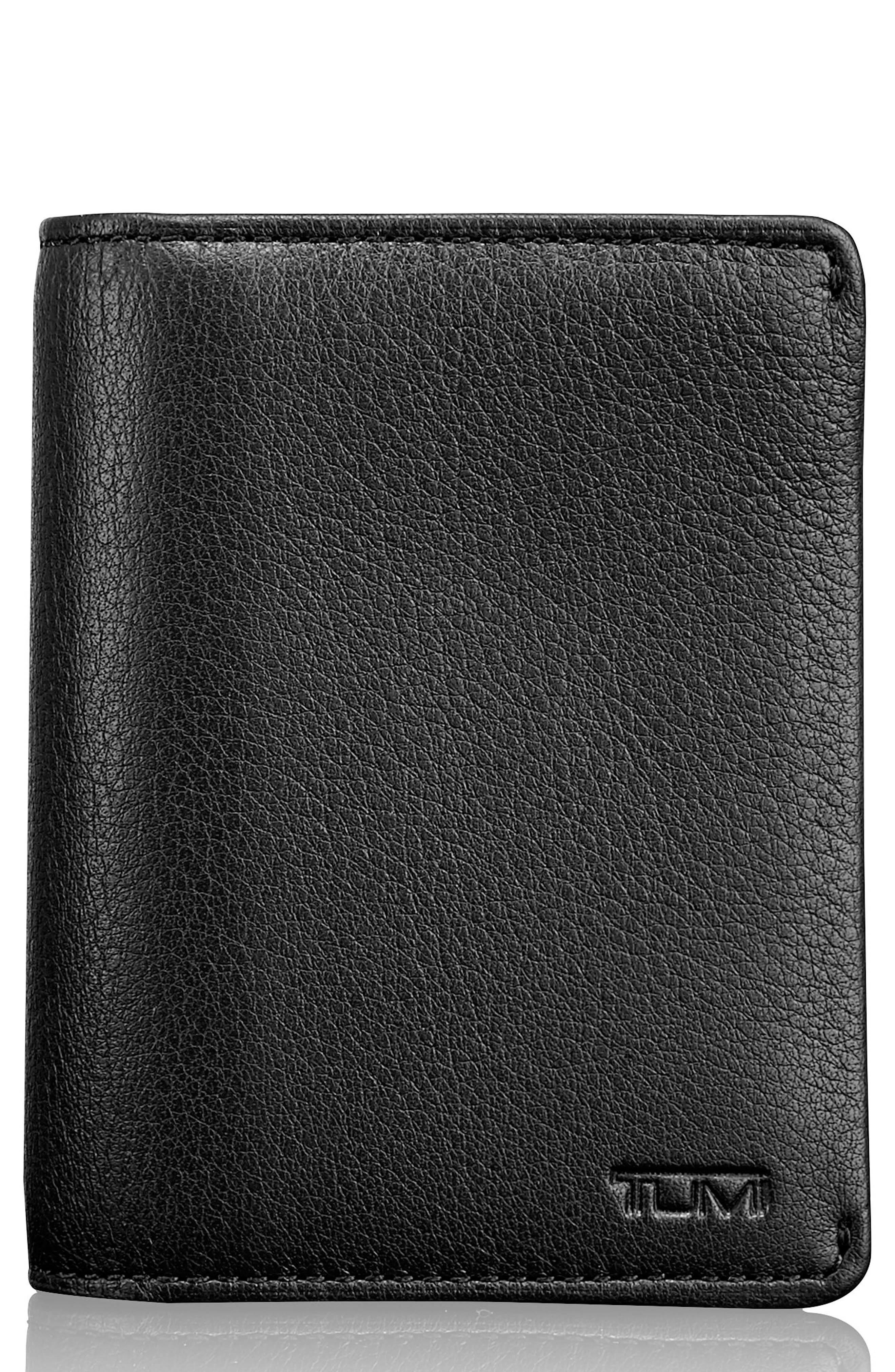 Leather RFID Card Case,                             Main thumbnail 1, color,                             BLACK TEXTURED