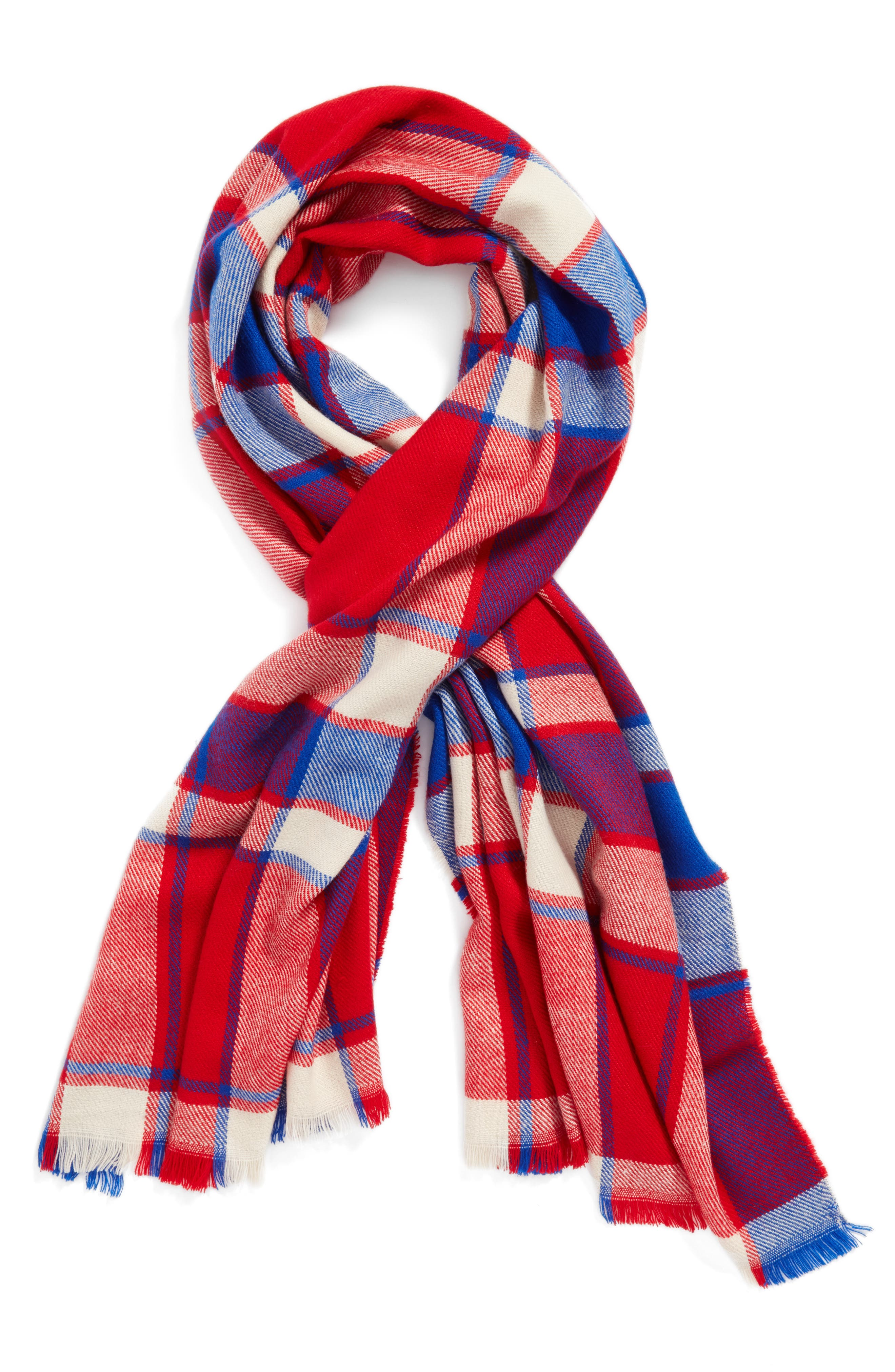 Plaid Scarf,                             Alternate thumbnail 2, color,                             RED/ BLUE