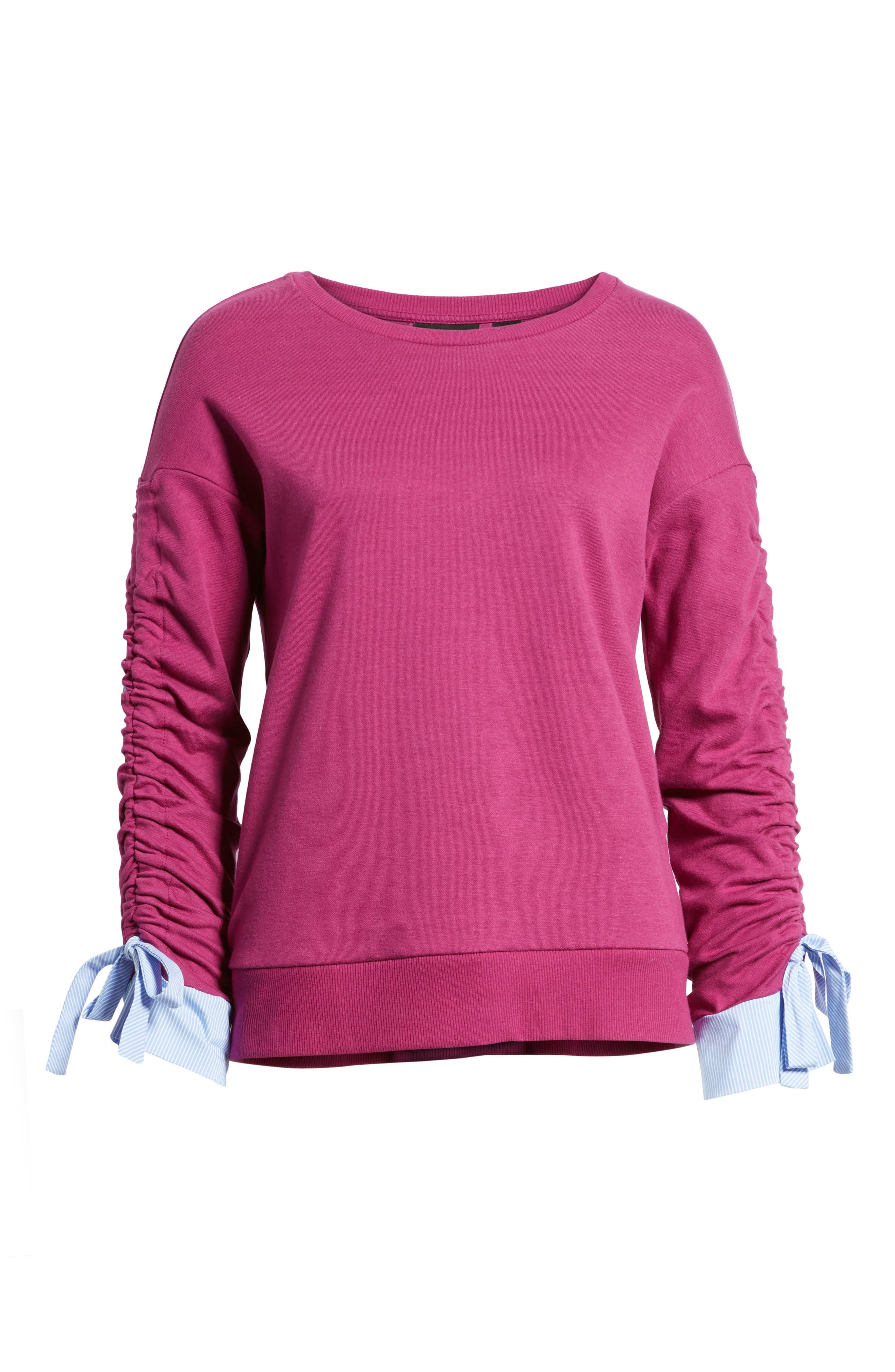 Ruched Sleeve Poplin Trim Sweatshirt,                             Alternate thumbnail 24, color,