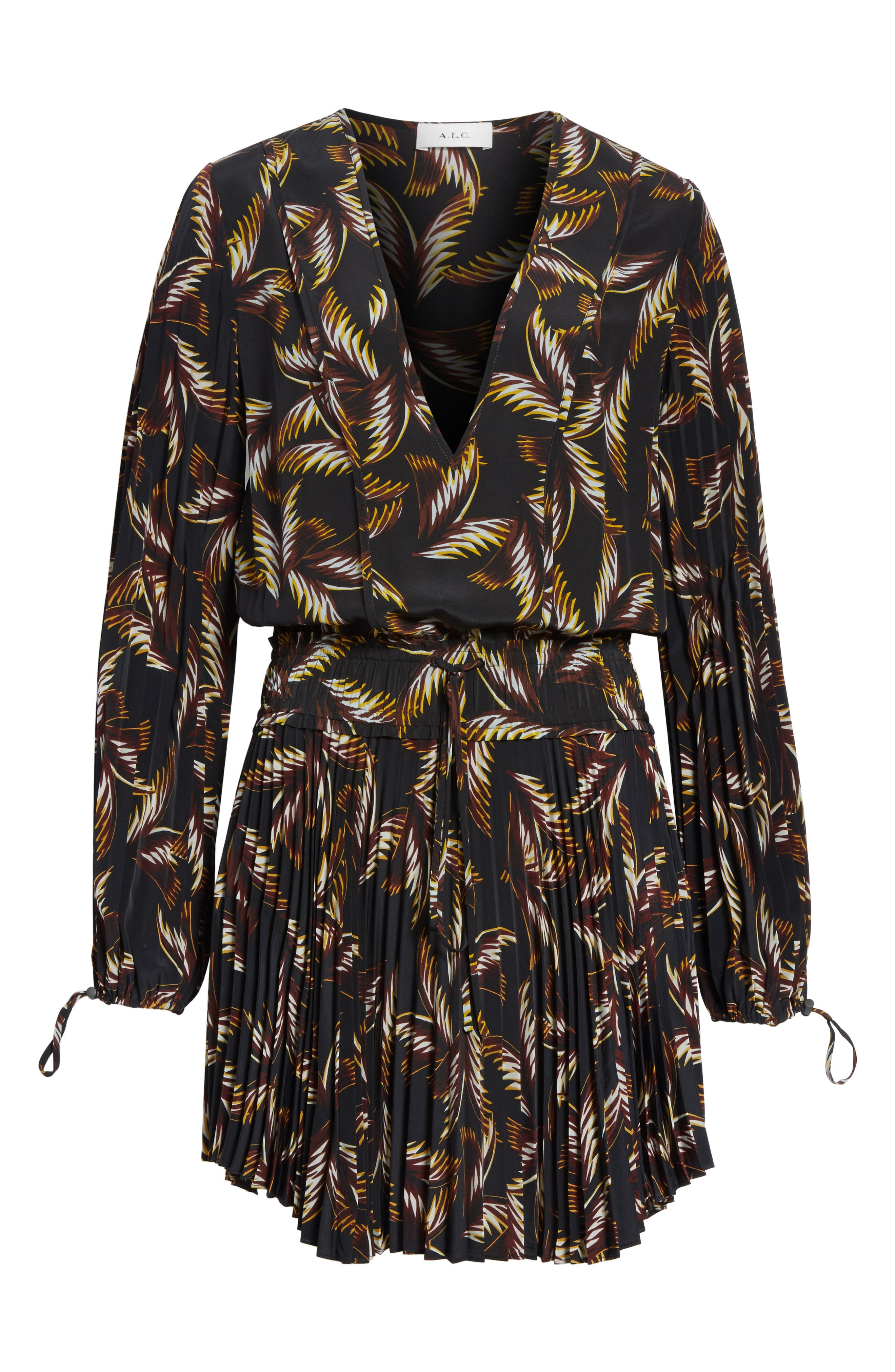 Rory Pleated Silk Dress,                             Alternate thumbnail 6, color,                             002