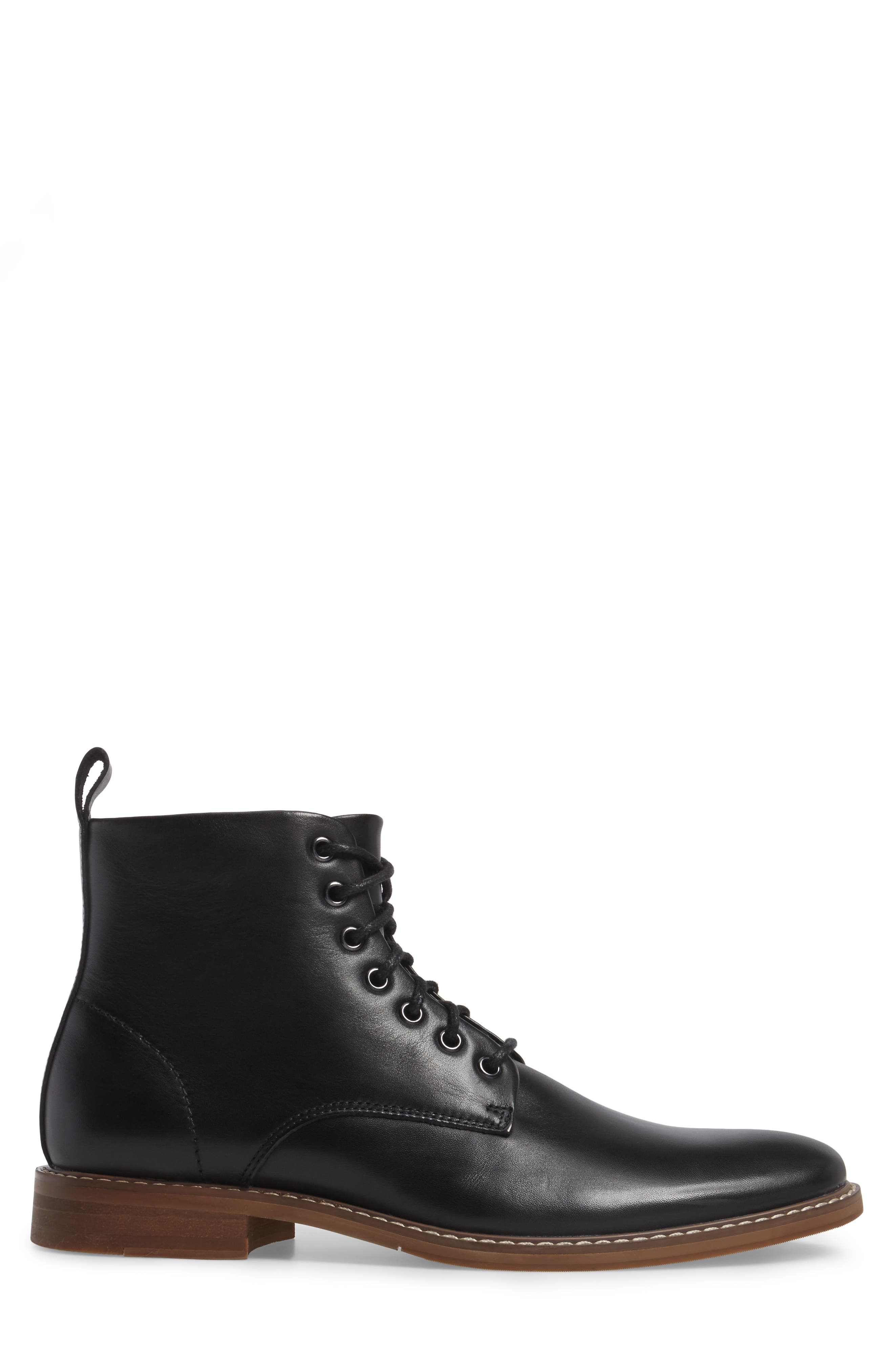 Albany Plain Toe Boot,                             Alternate thumbnail 3, color,                             BLACK LEATHER