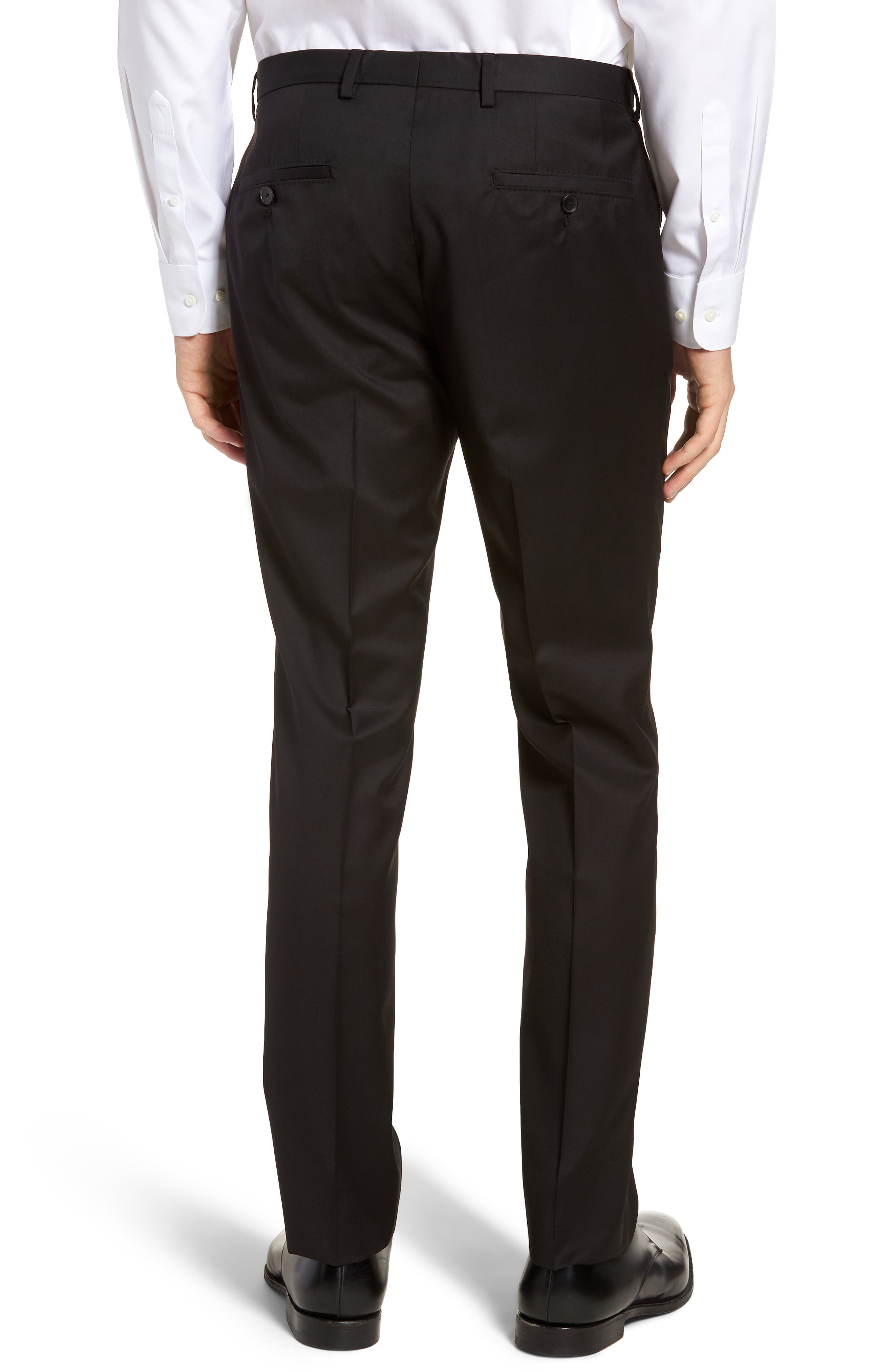 Lenon CYL Flat Front Solid Wool Trousers,                             Alternate thumbnail 2, color,                             BLACK
