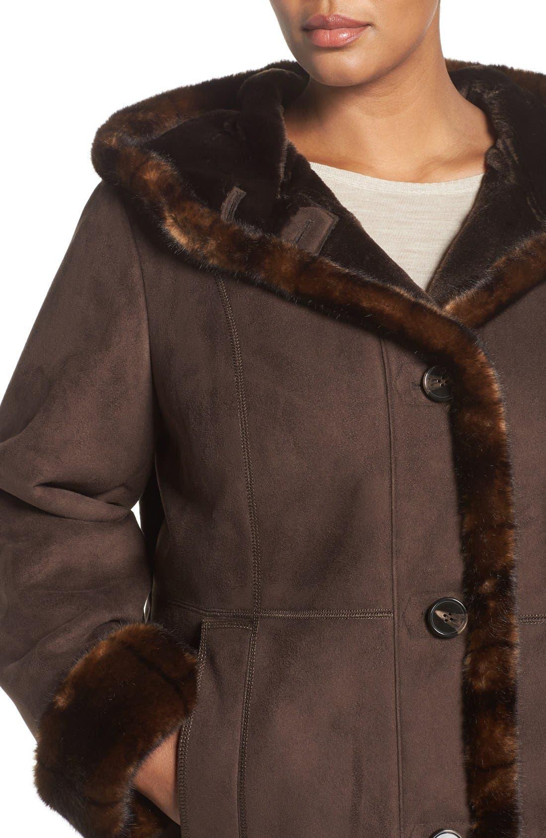 Faux Shearling A-Line Coat,                             Alternate thumbnail 4, color,                             204