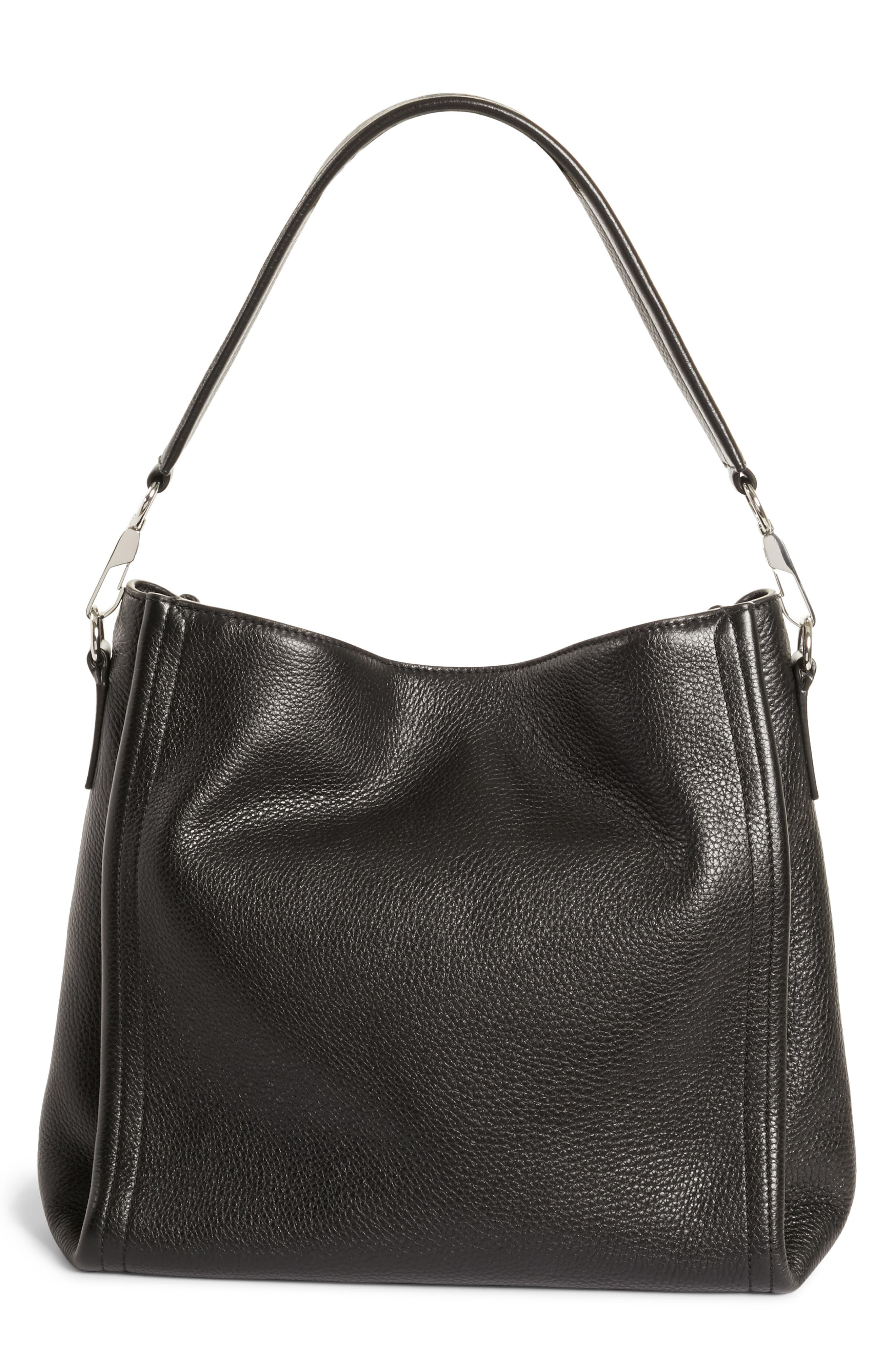 Darcy Leather Hobo,                         Main,                         color, BLACK