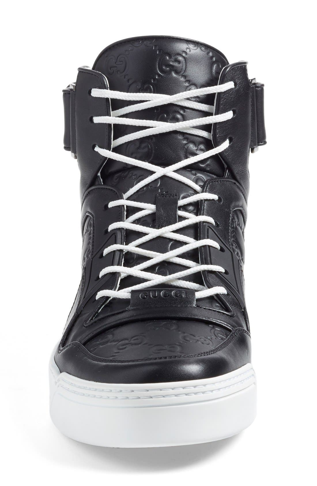 GUCCI,                             'New Basketball' High Top Sneaker,                             Alternate thumbnail 3, color,                             002