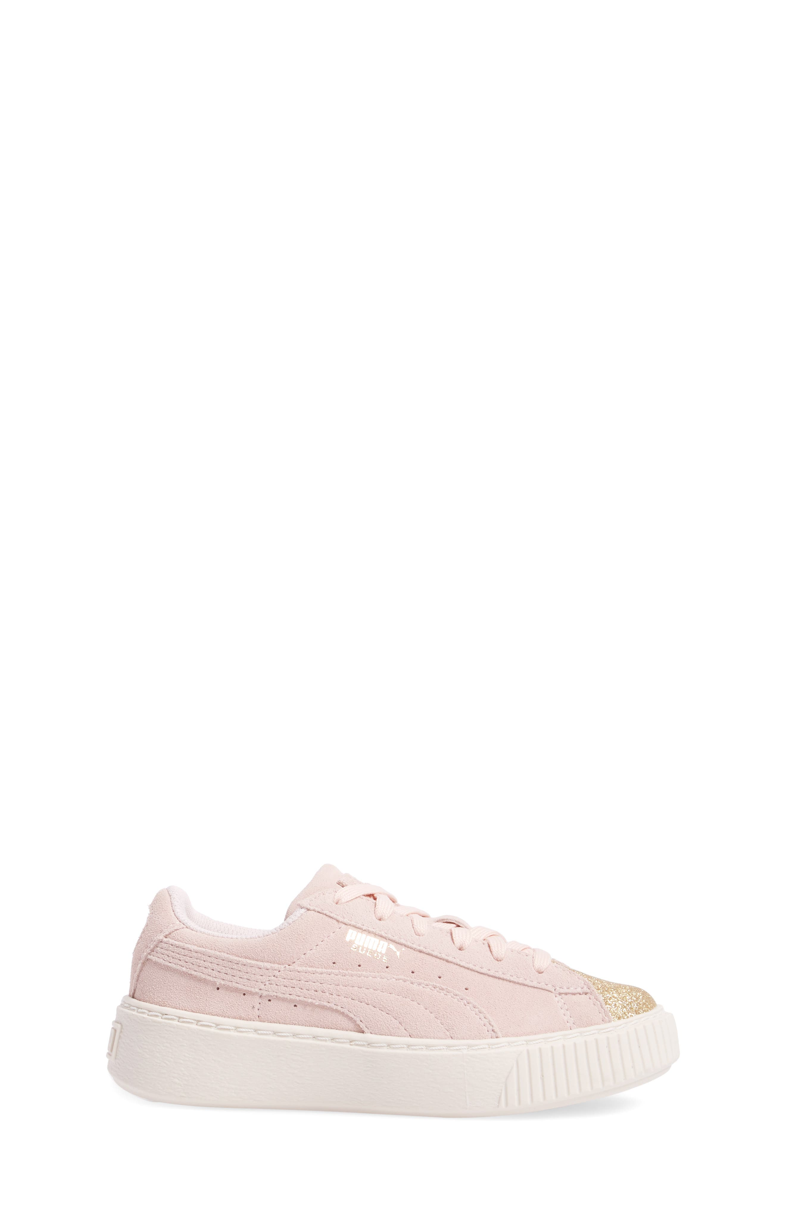 Suede Platform Glam Sneaker,                             Alternate thumbnail 3, color,                             650