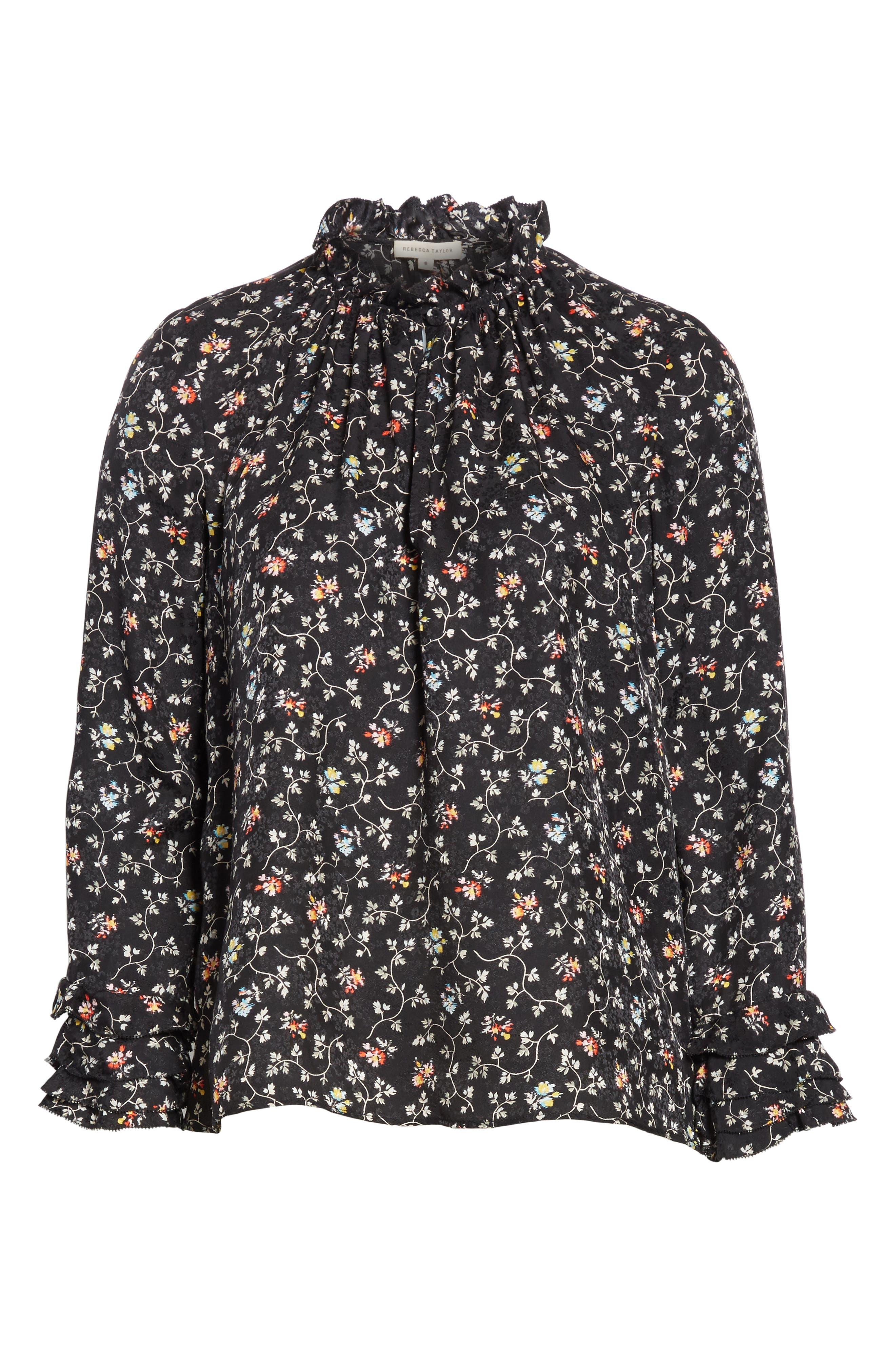 Floral Print Ruffle Silk Top,                             Alternate thumbnail 6, color,                             001