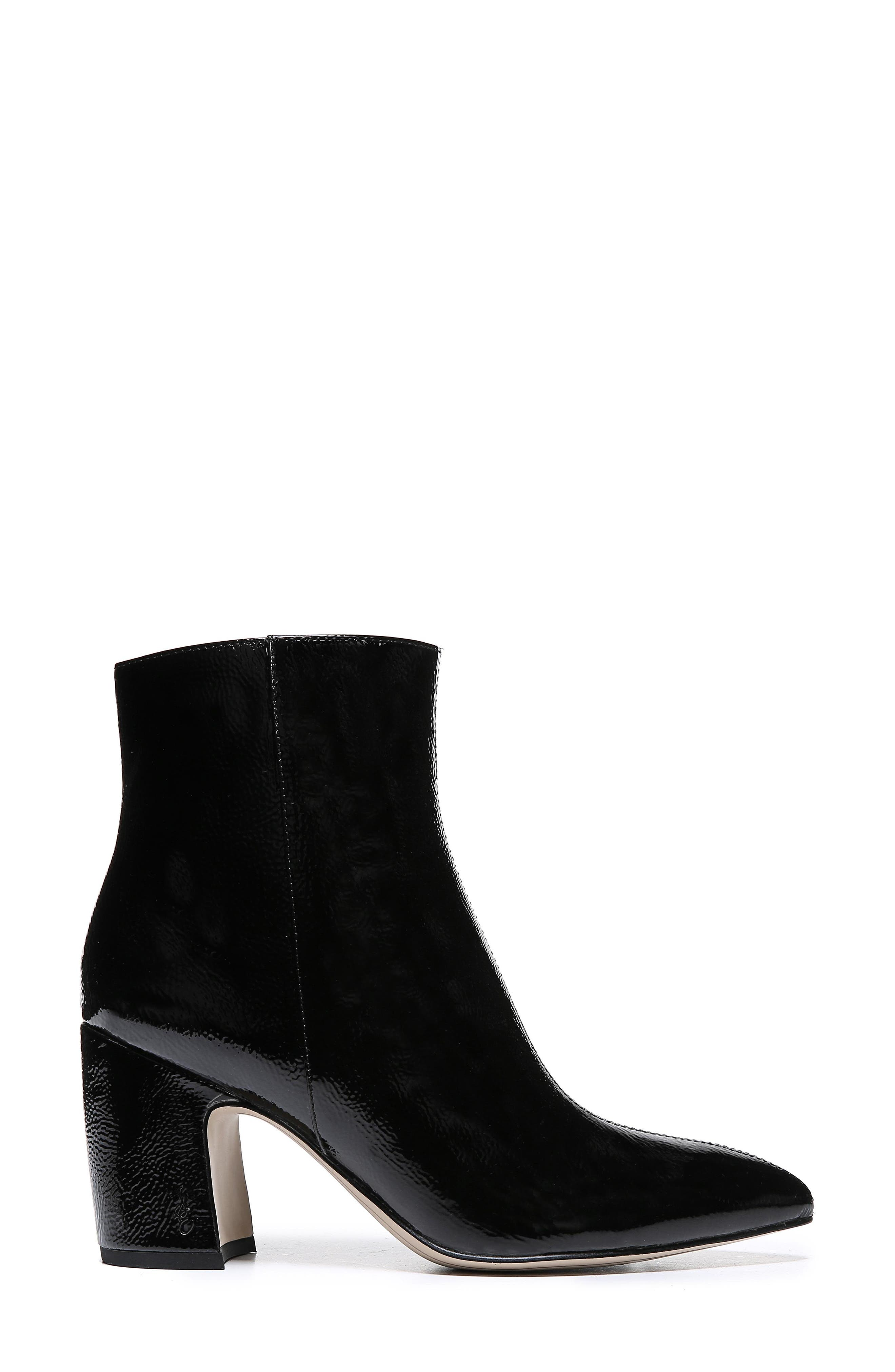 Hilty Genuine Calf Hair Bootie,                             Alternate thumbnail 3, color,                             BLACK PATENT LEATHER