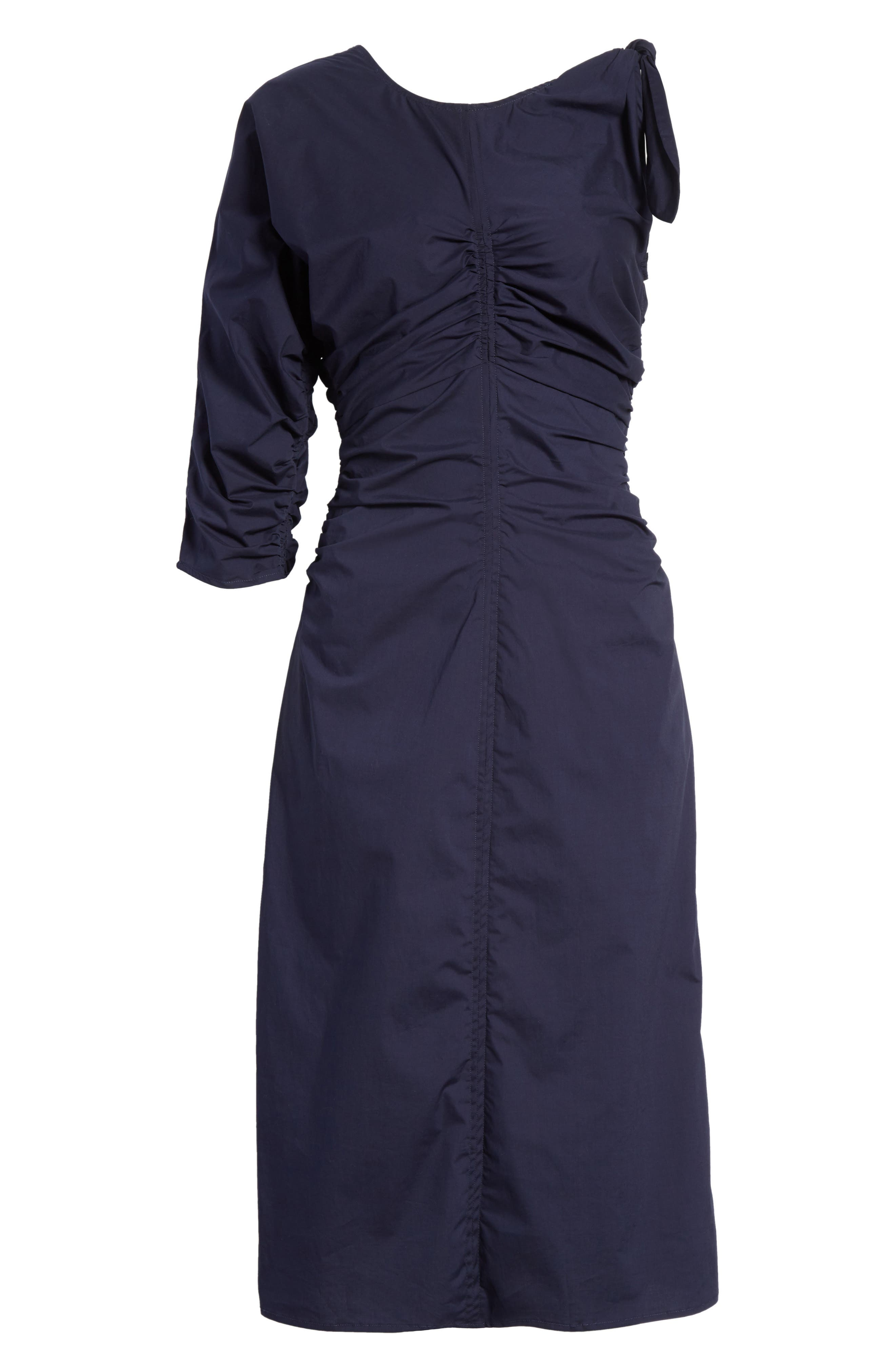 Clota Ruched One-Shoulder Poplin Dress,                             Alternate thumbnail 6, color,                             400