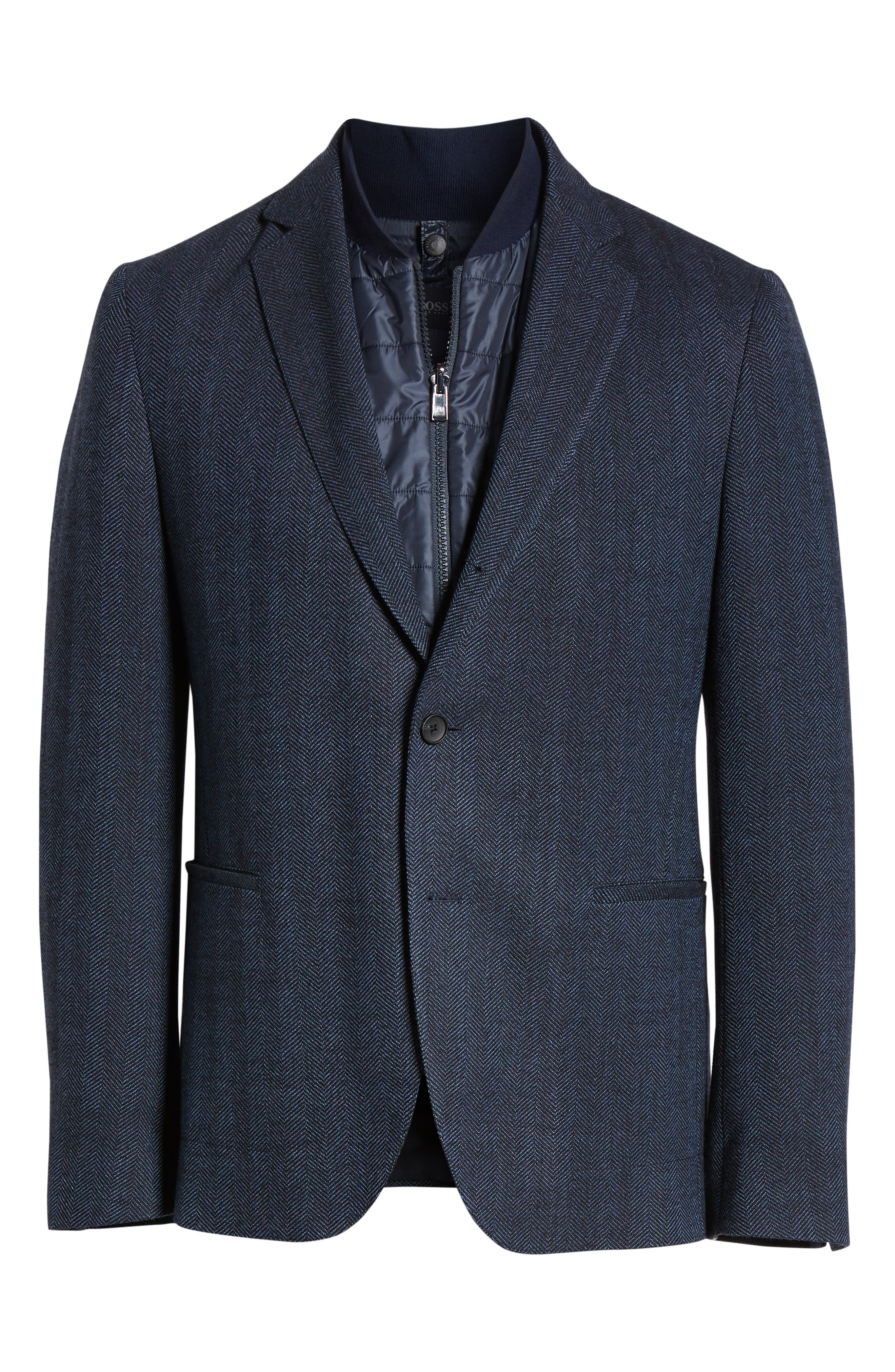Nanon Trim Fit Herringbone Wool & Cotton Sport Coat,                             Alternate thumbnail 5, color,                             OPEN BLUE