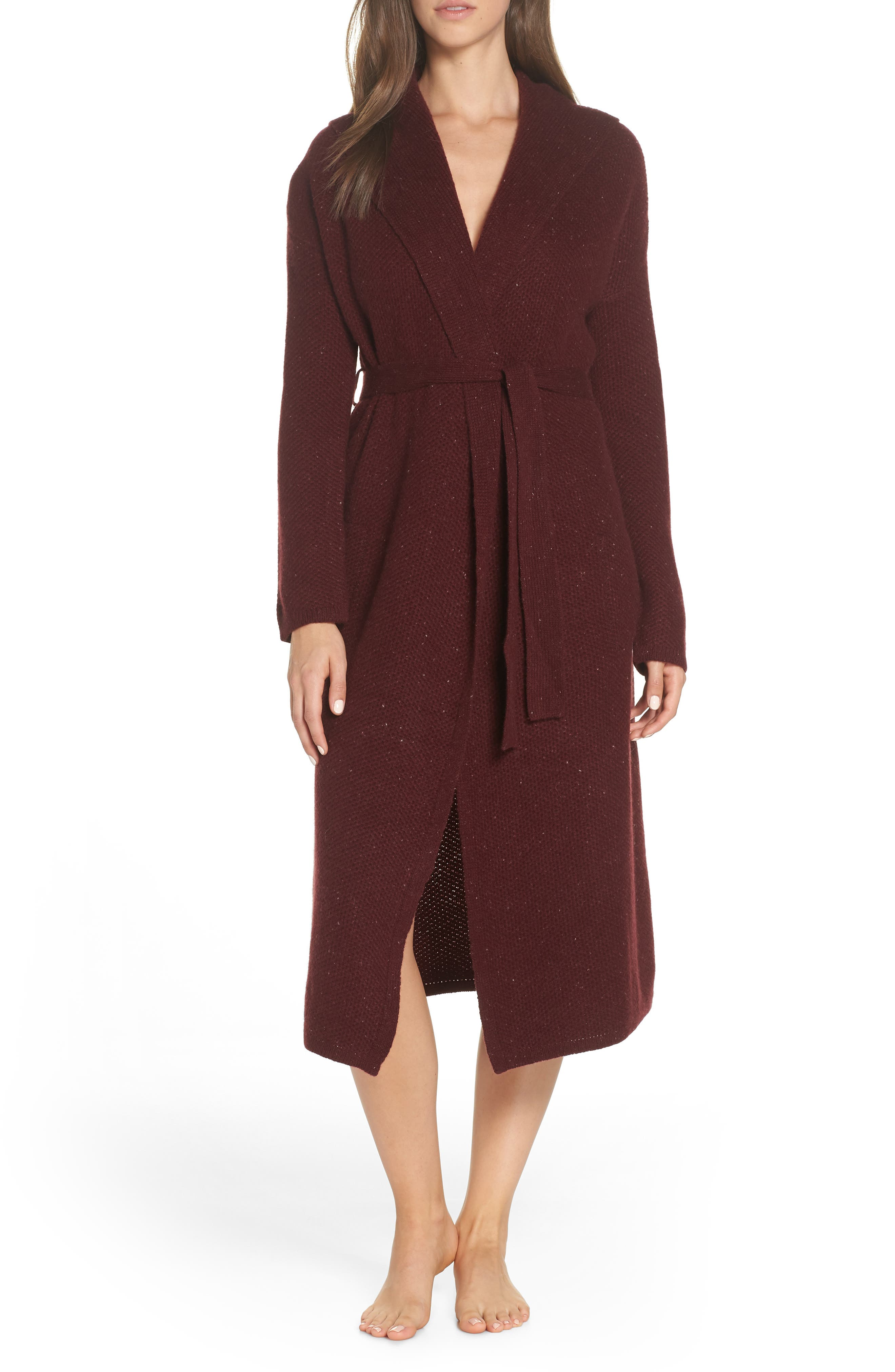 Wren Cashmere Robe,                         Main,                         color, PORT HEATHER