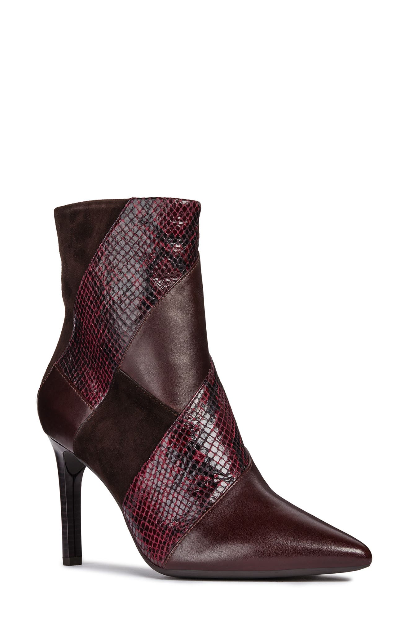Faviola Bootie,                             Main thumbnail 1, color,                             DARK BURGUNDY LEATHER