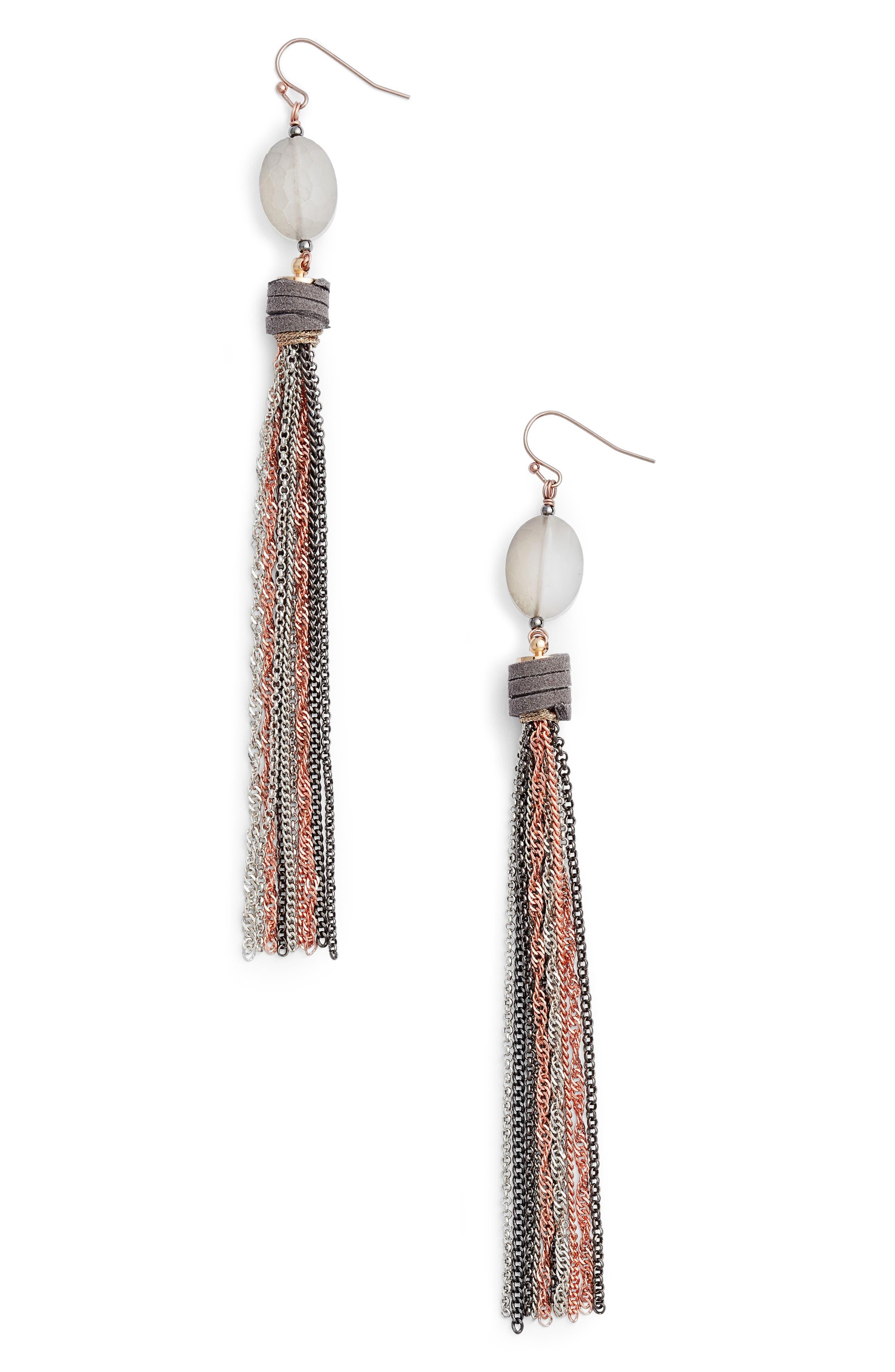 Chain Tassel Shoulder Duster Earrings,                             Main thumbnail 1, color,
