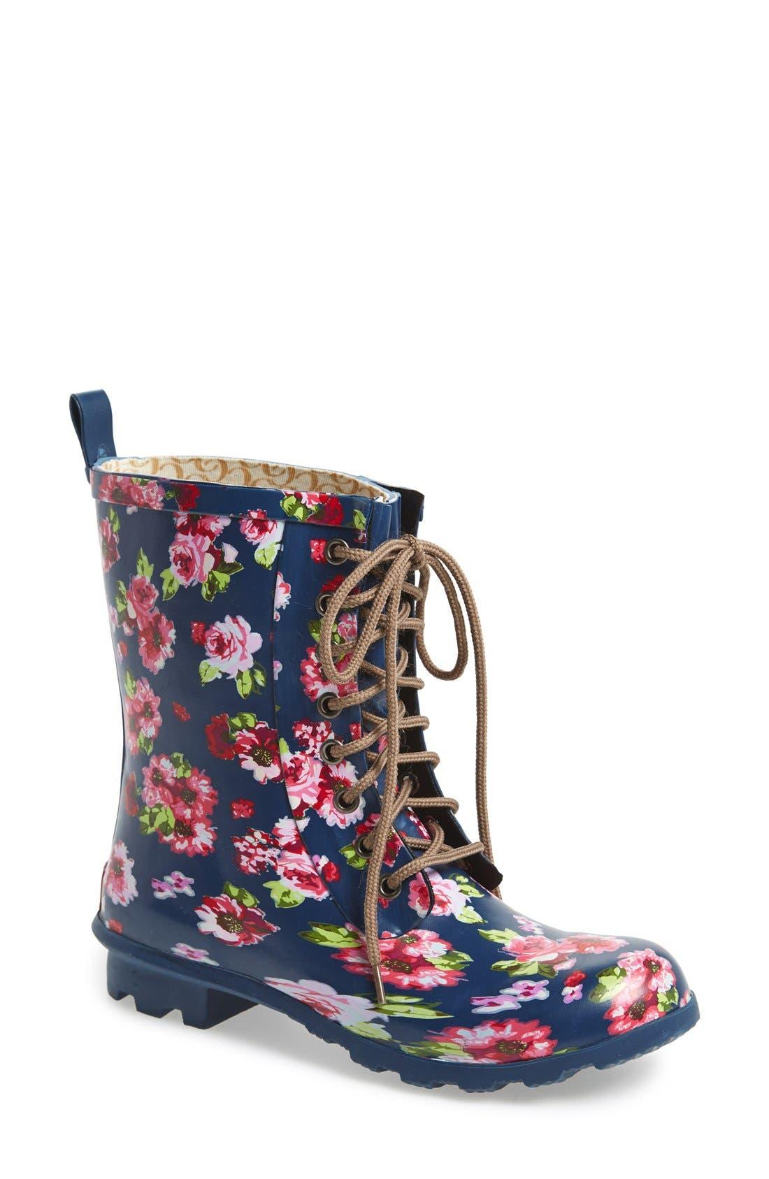 Floral Print Combat Rain Boot, Main, color, 421