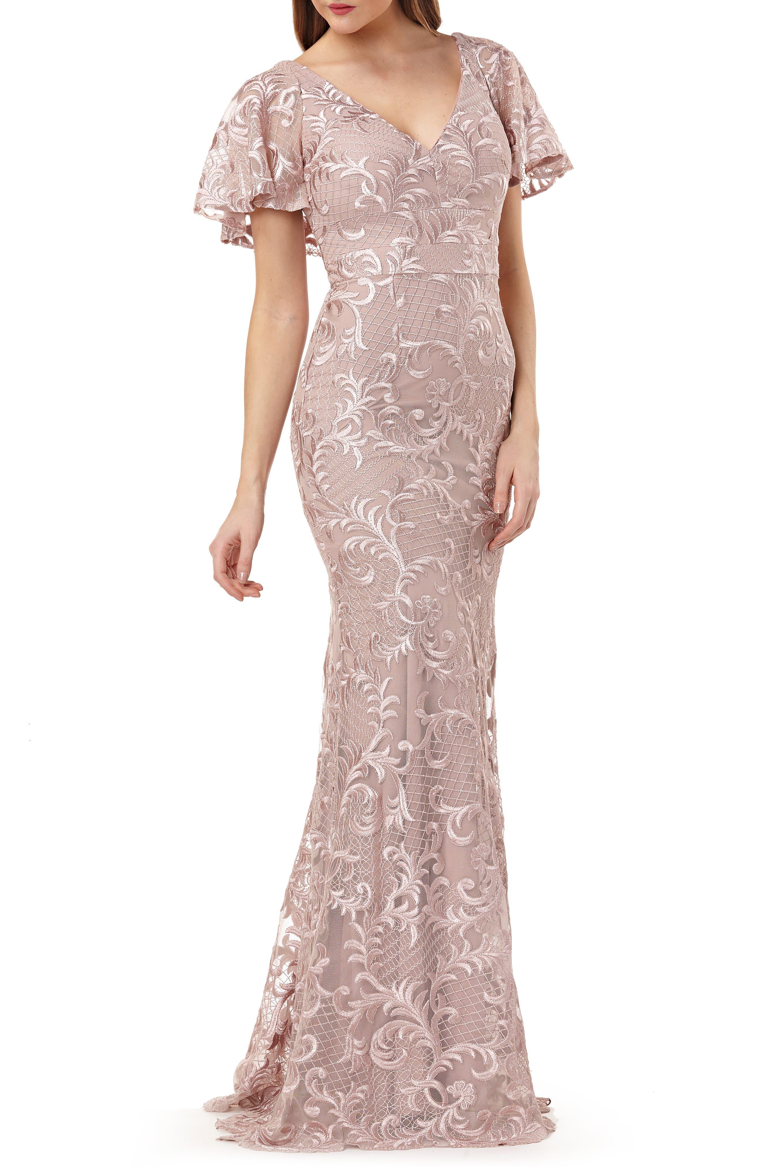 1930s Evening Dresses | Old Hollywood Dress Womens Carmen Marc Valvo Infusion Capelet Sleeve Evening Dress Size 16 - Pink $448.00 AT vintagedancer.com