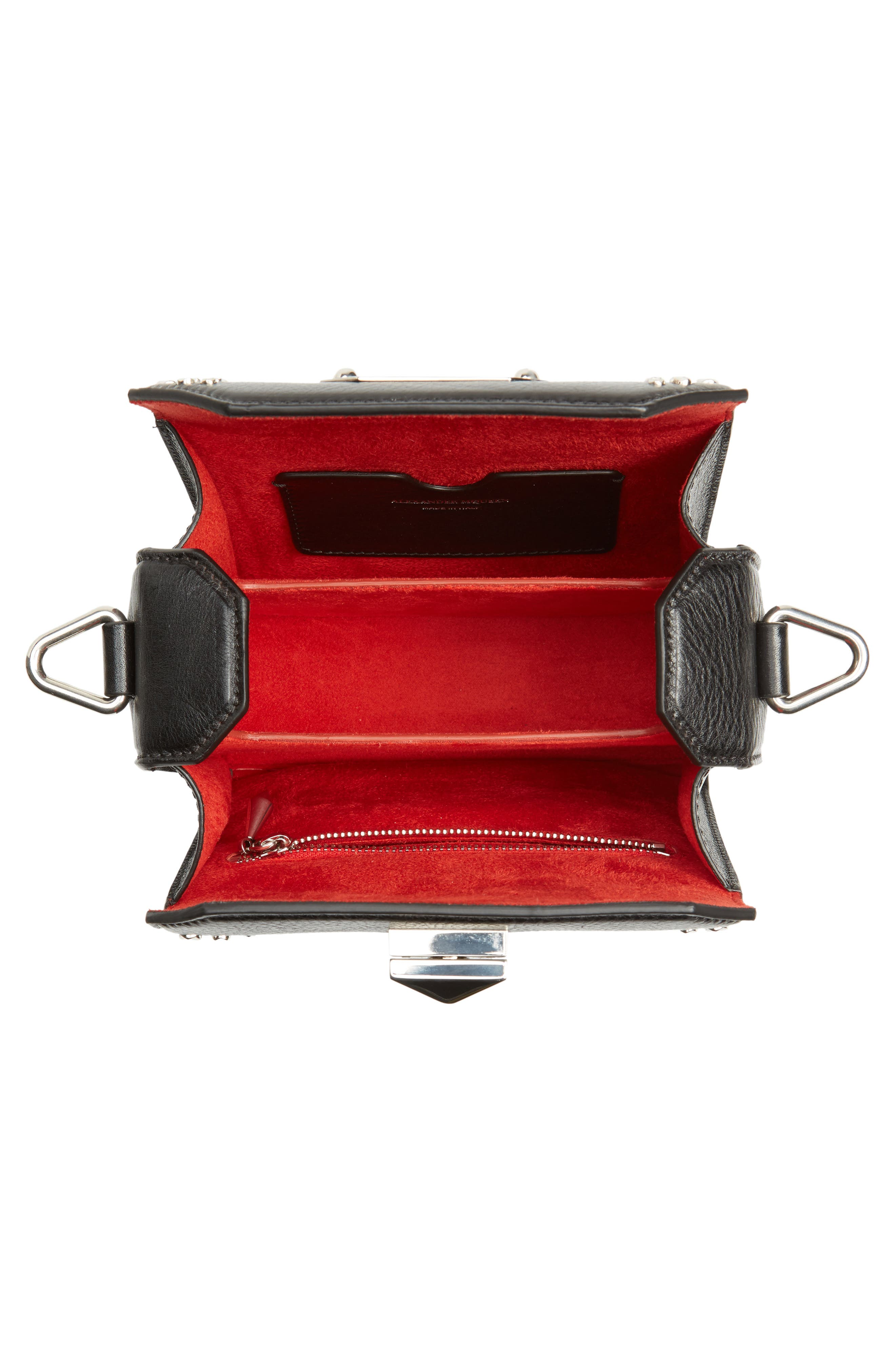 Box Bag 16 Studded Leather Bag,                             Alternate thumbnail 5, color,                             BLACK