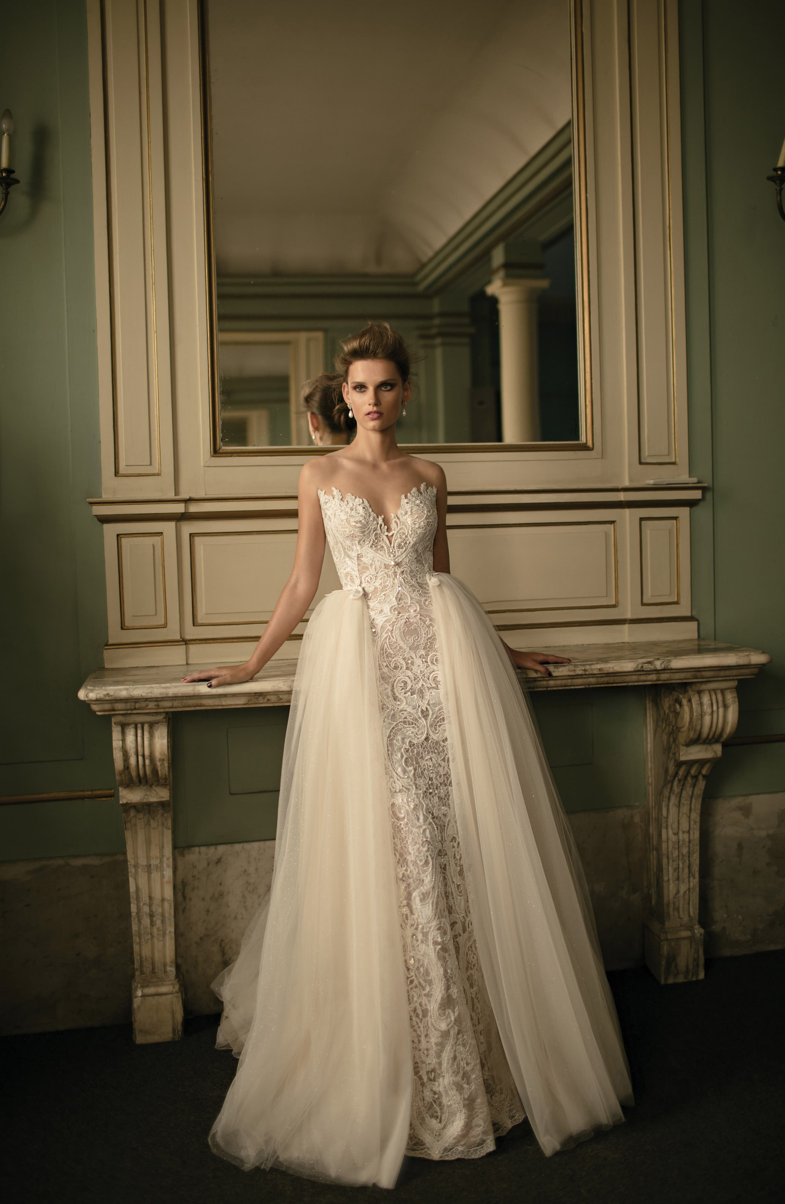 Beaded Lace & Tulle Ballgown,                             Alternate thumbnail 5, color,                             900