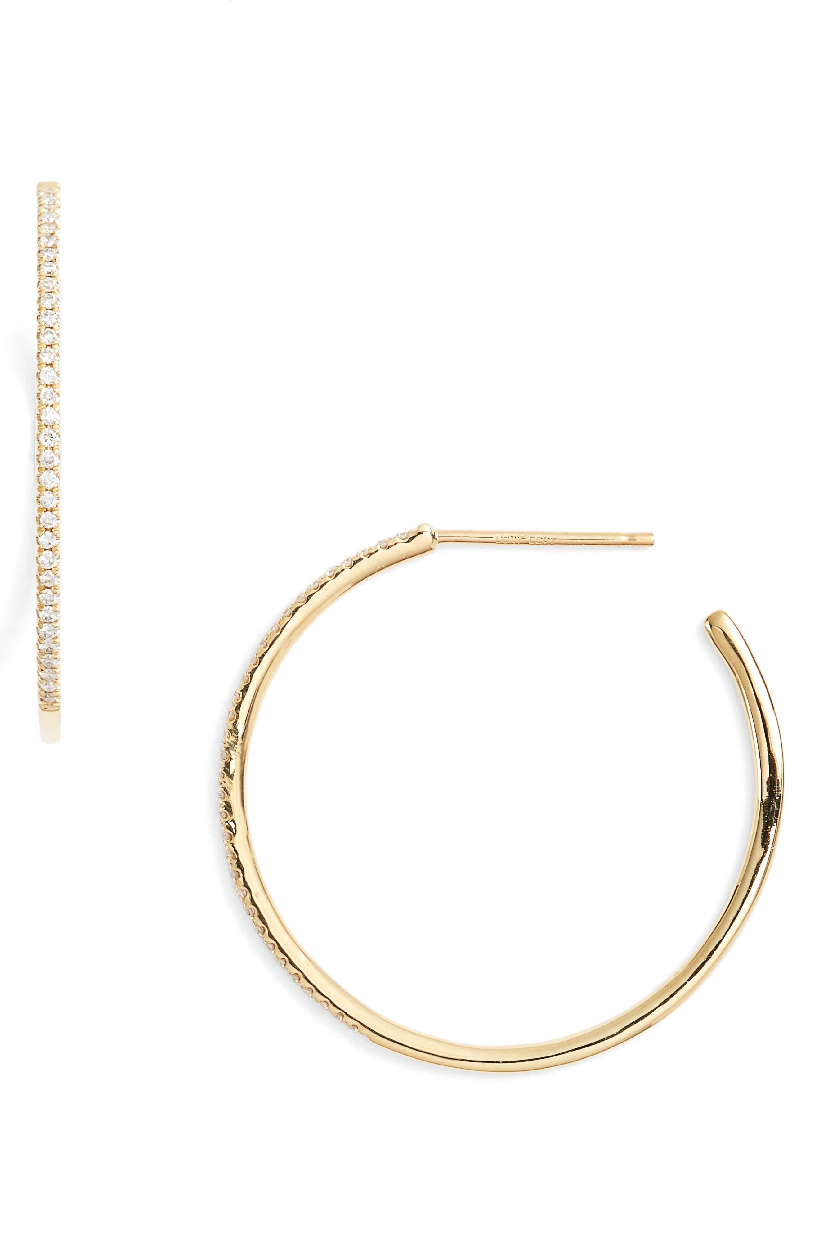 Ella Diamond Hoop Earrings,                             Main thumbnail 1, color,                             YELLOW GOLD