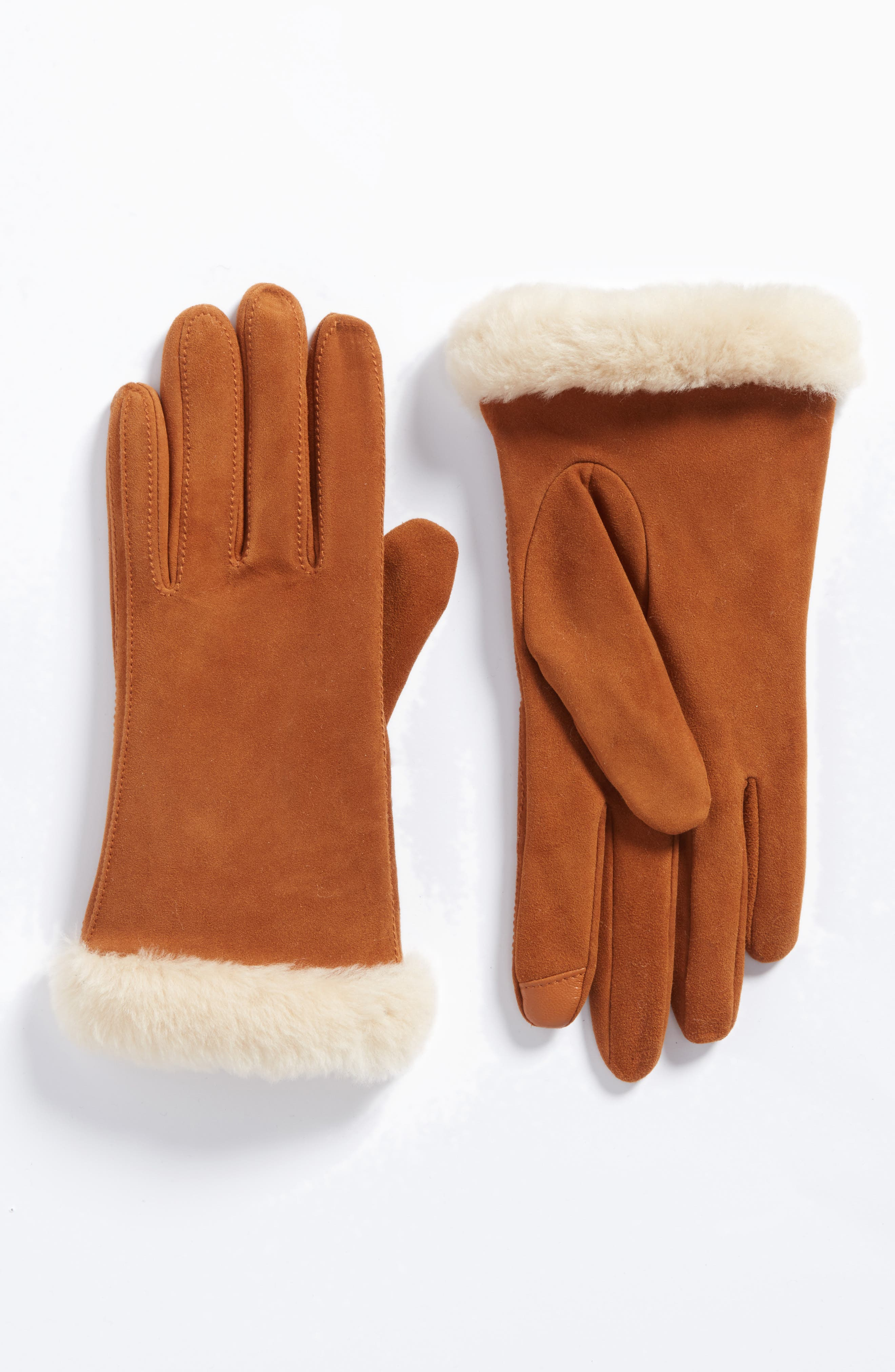 Classic Suede Tech Gloves with Genuine Shearling Trim,                             Main thumbnail 2, color,