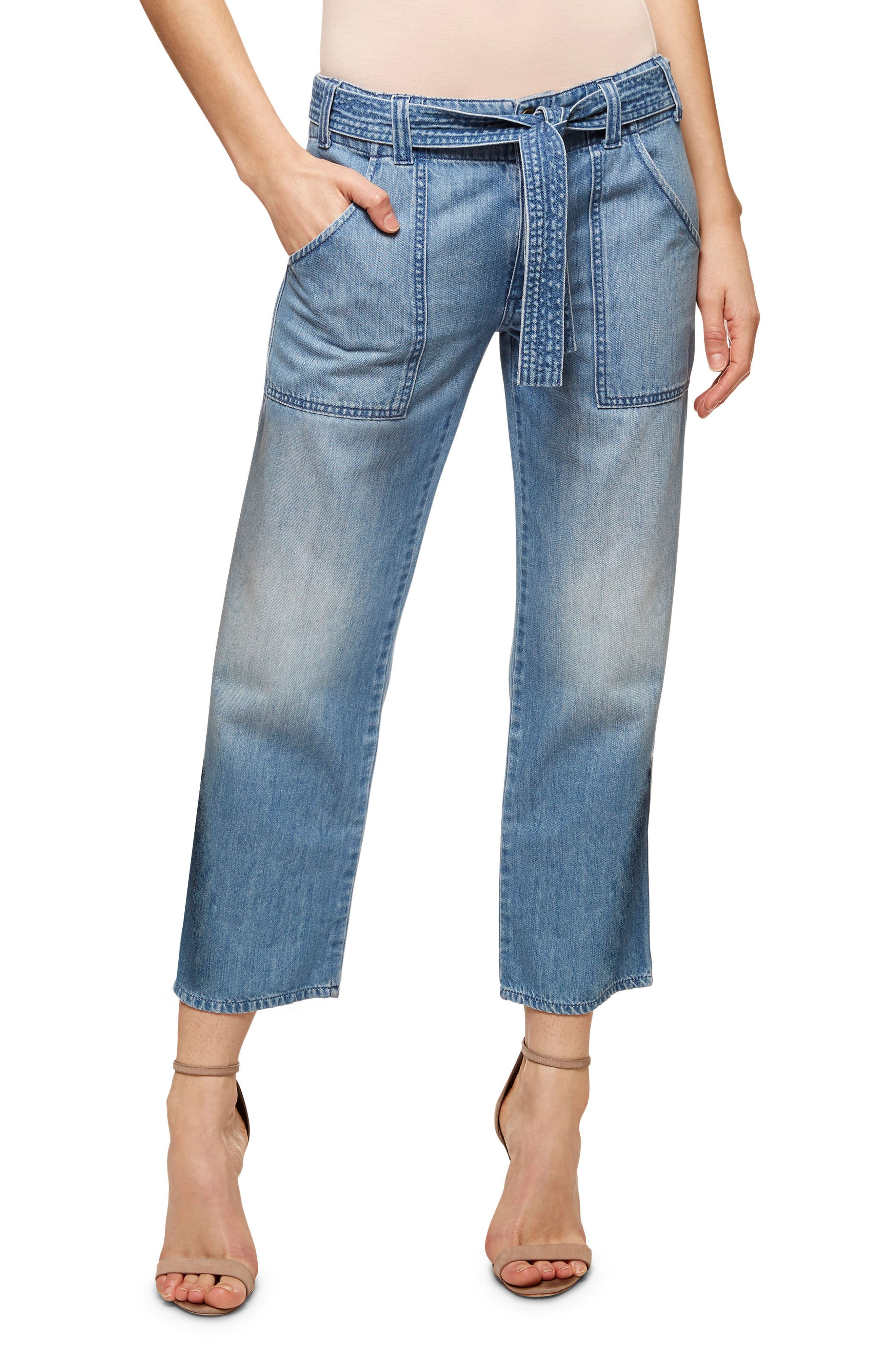 Karate Belted Crop Jeans,                             Main thumbnail 1, color,                             411