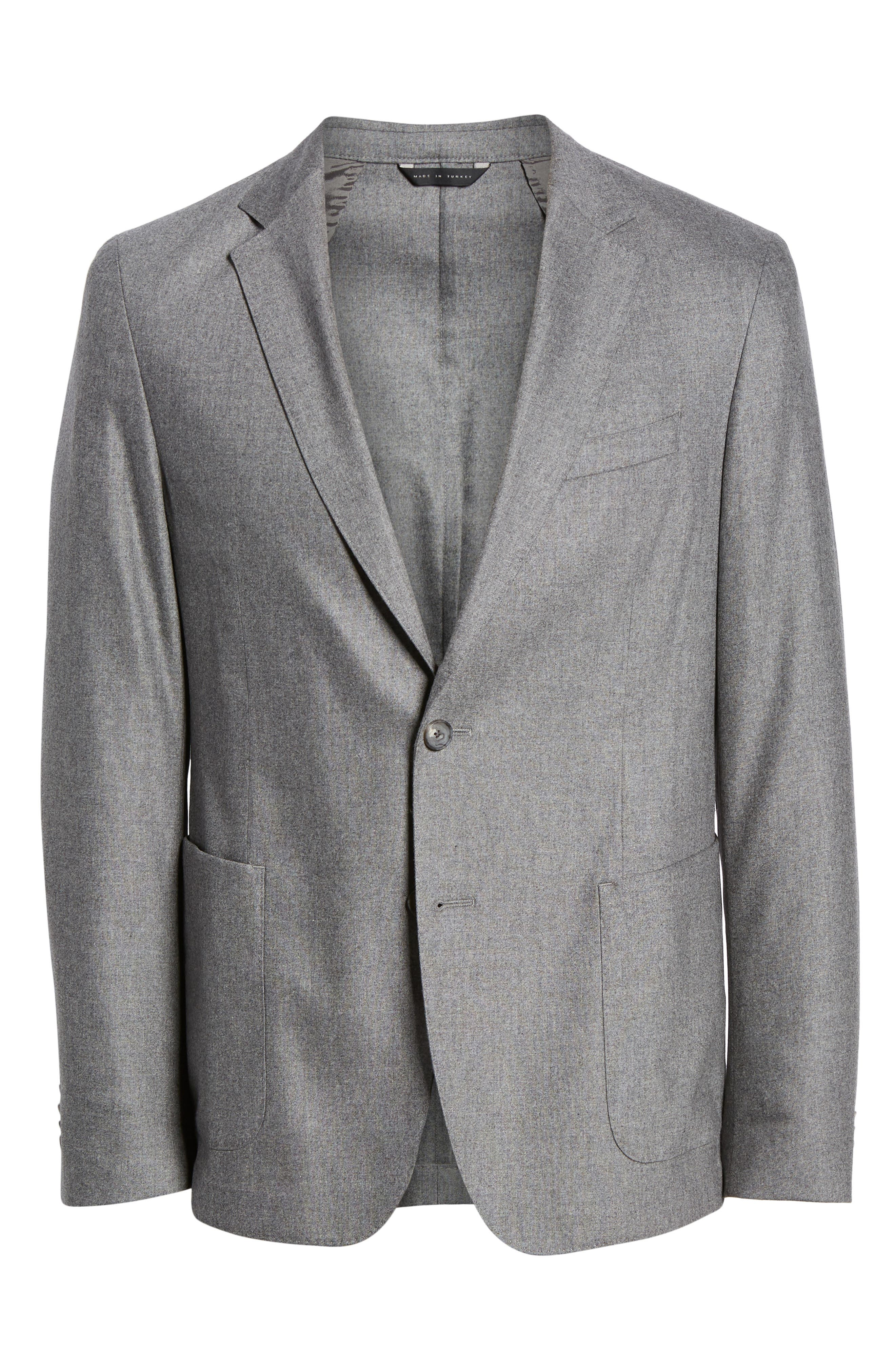Nold Trim Fit Stretch Wool Blend Blazer,                             Alternate thumbnail 5, color,                             MEDIUM GREY
