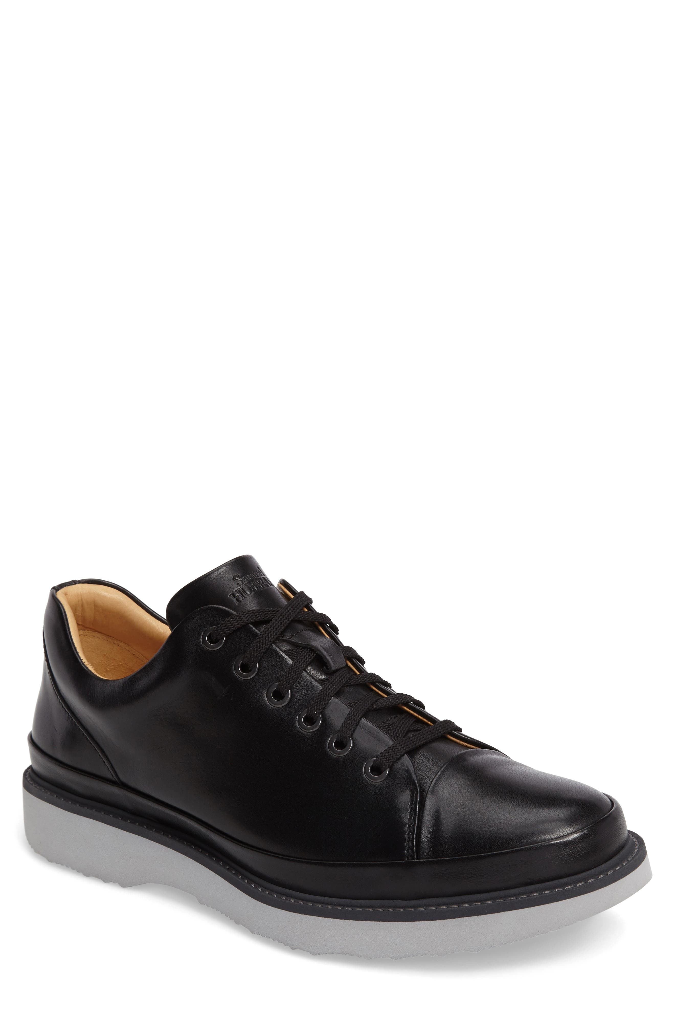 Sneaker,                             Main thumbnail 1, color,                             BLACK LEATHER