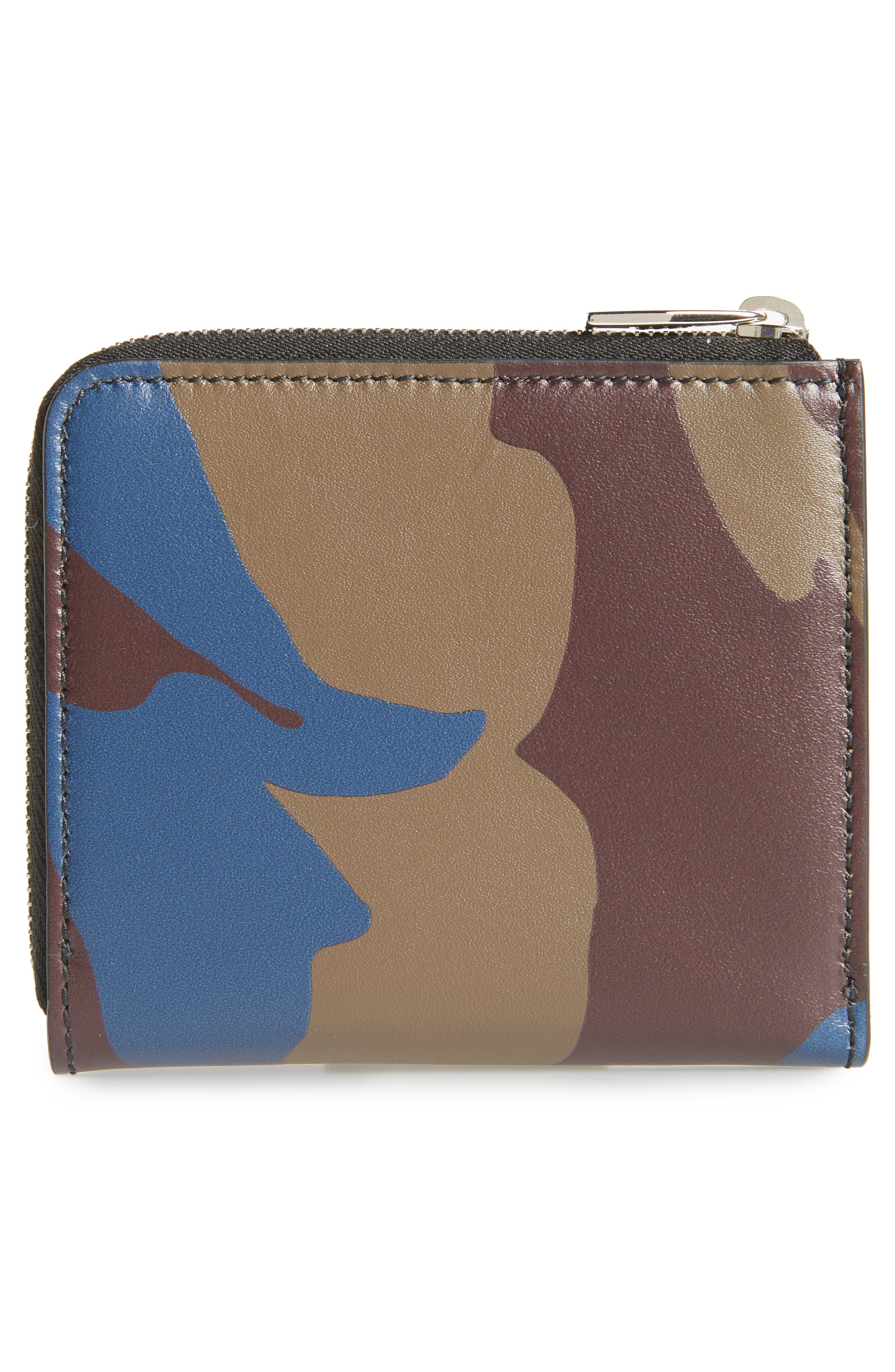 Leather Zip Coin Purse,                             Alternate thumbnail 3, color,                             MILITARY
