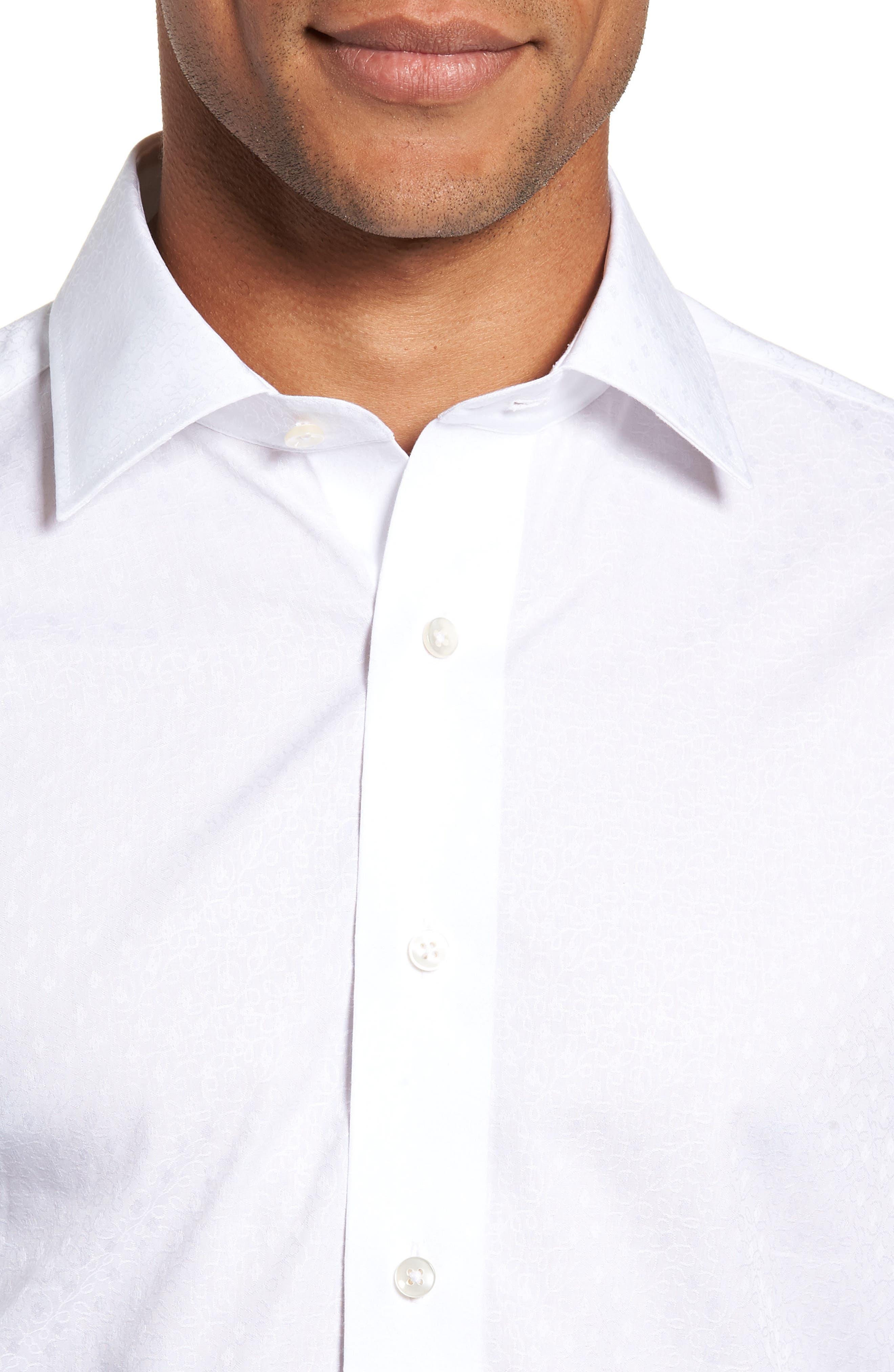 Trim Fit Floral Dress Shirt,                             Alternate thumbnail 2, color,                             100