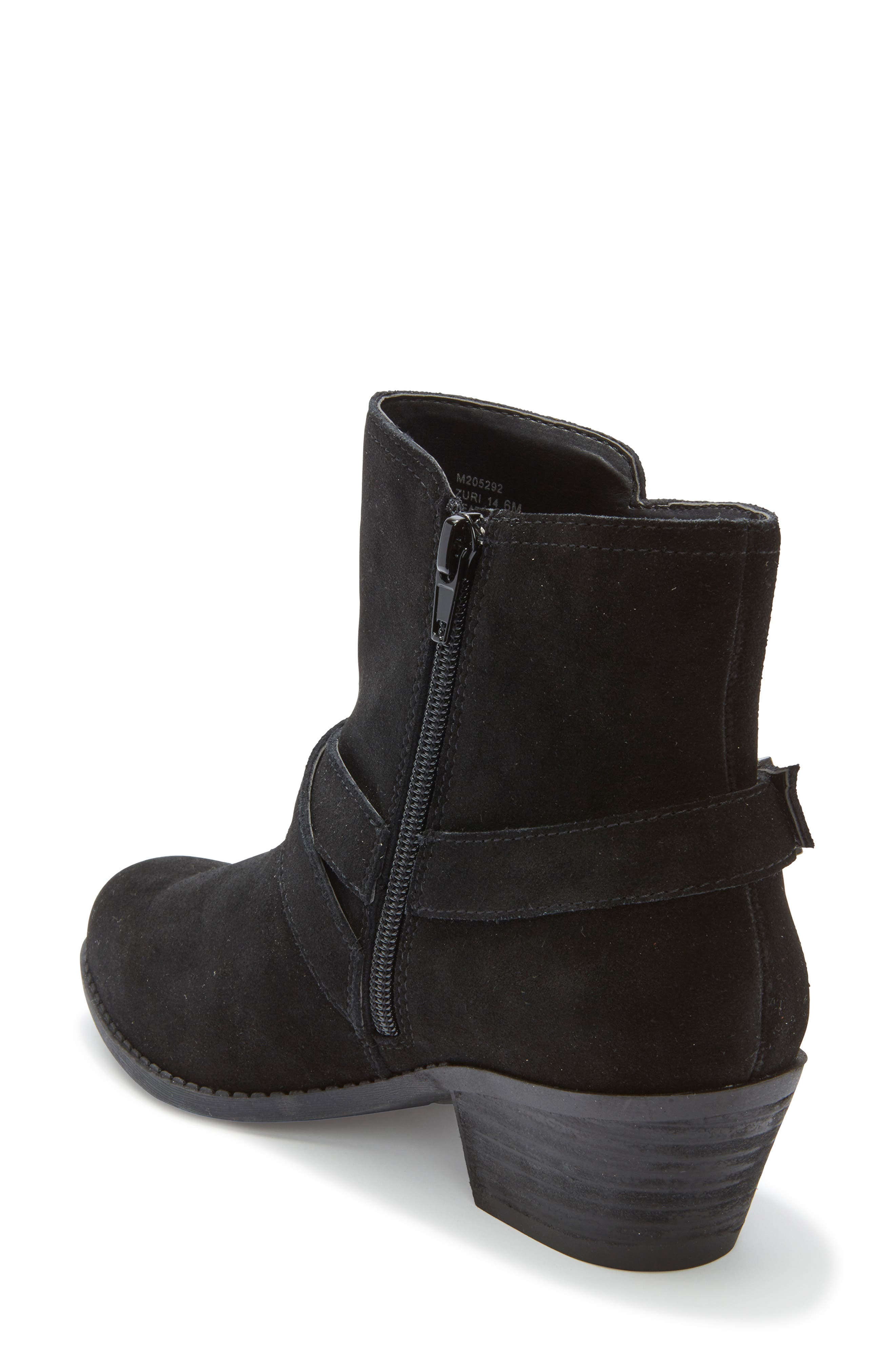 Zuri Buckle Boot,                             Alternate thumbnail 2, color,                             BLACK SUEDE