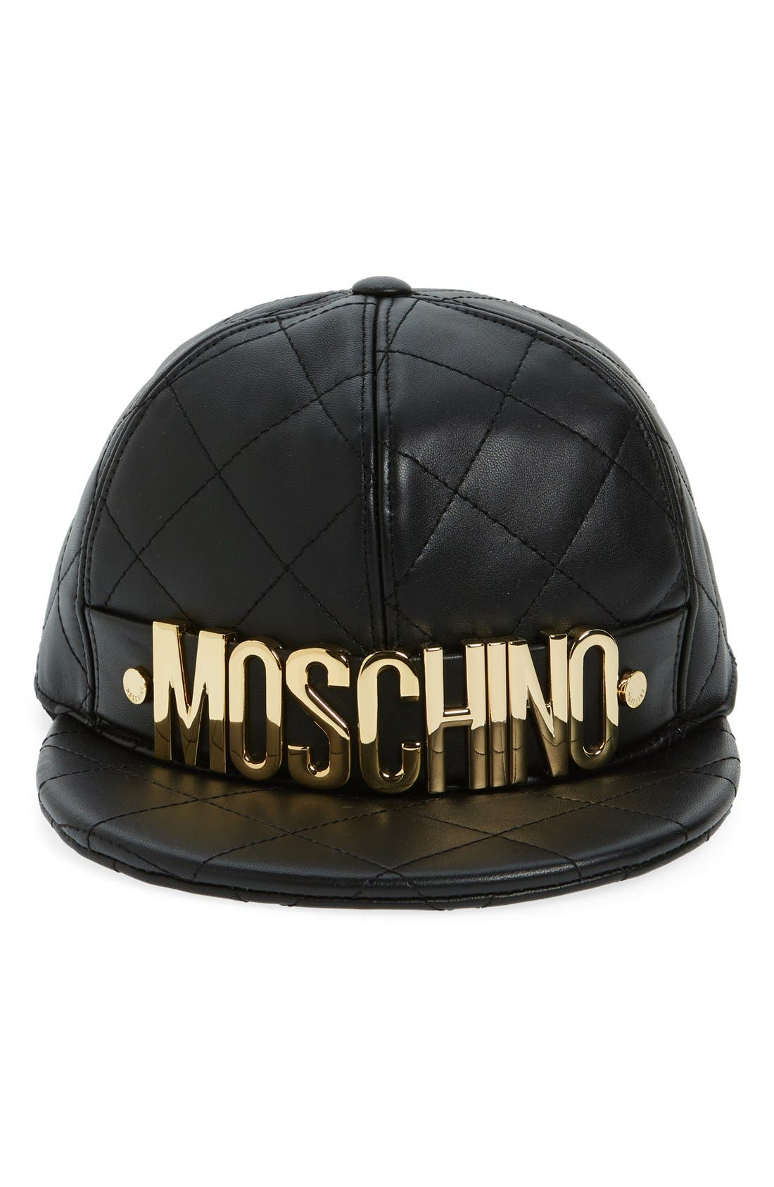 Quilted Leather Baseball Cap,                             Alternate thumbnail 3, color,                             001