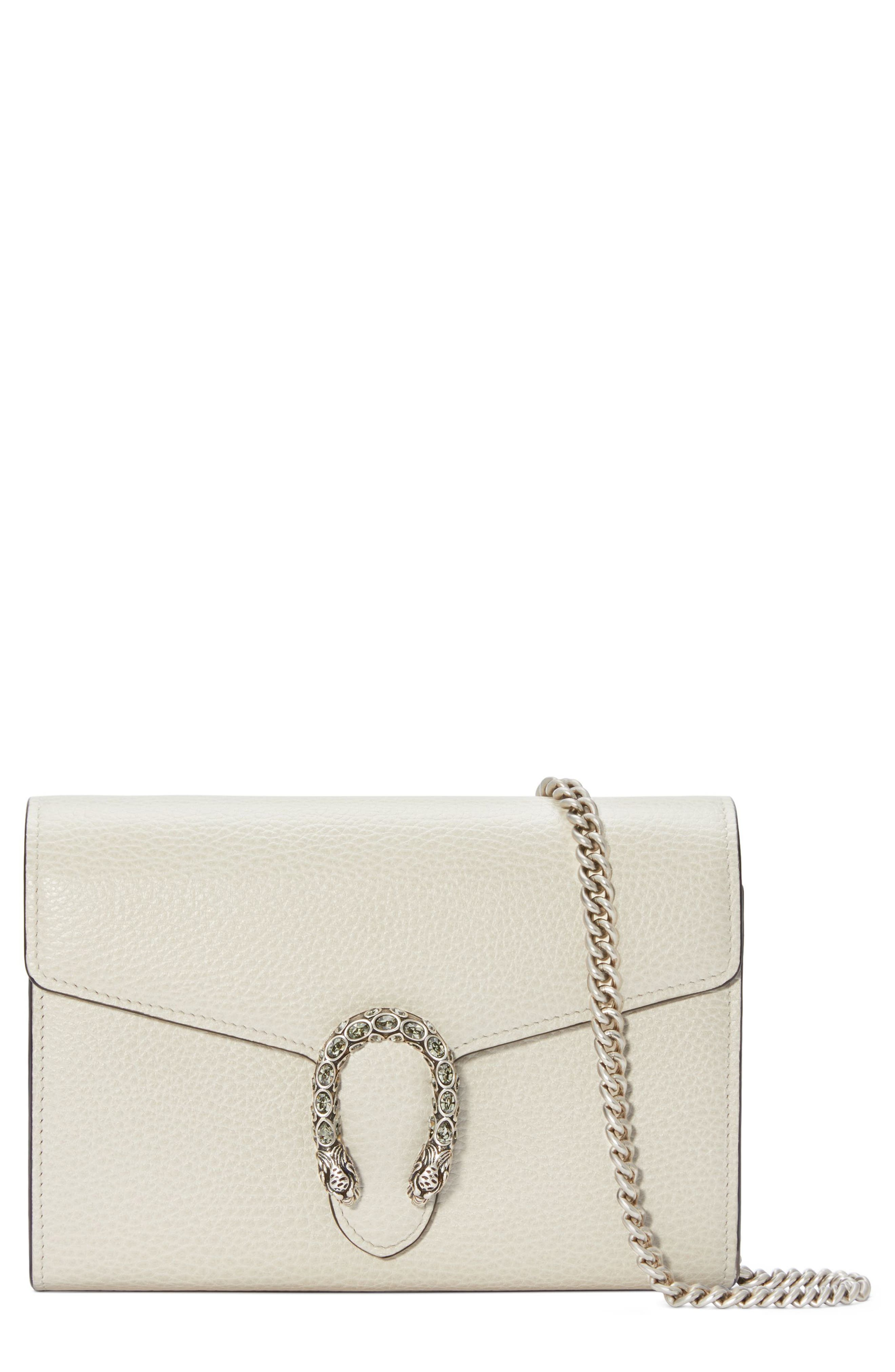 Small Dionysus Leather Clutch,                         Main,                         color, MYSTIC WHITE/ BLACK DIAMOND